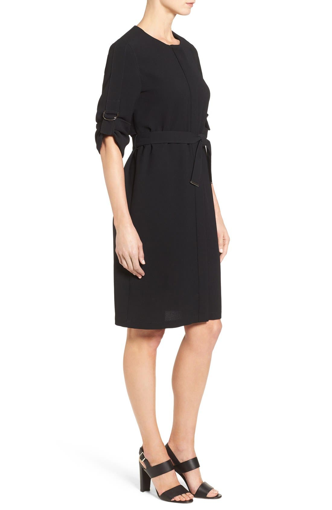 'Hamika' Belted Roll Sleeve Shirtdress,                             Alternate thumbnail 4, color,                             001