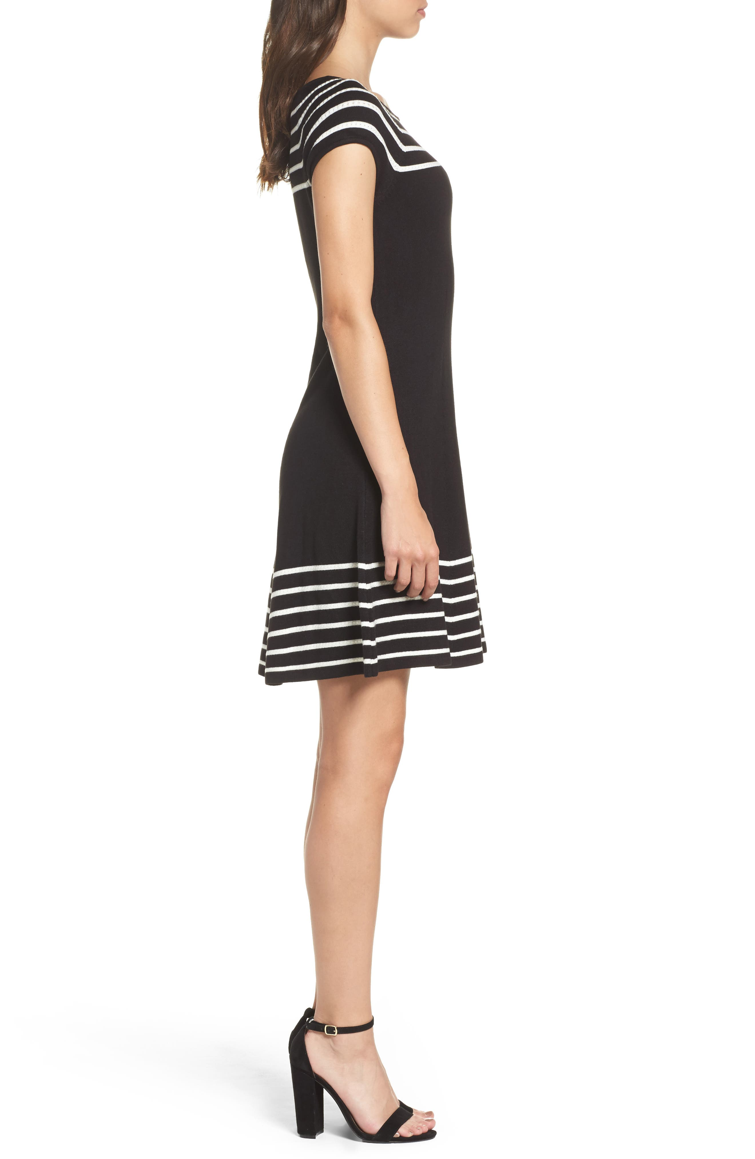 Stripe Knit Flared Dress,                             Alternate thumbnail 4, color,                             001