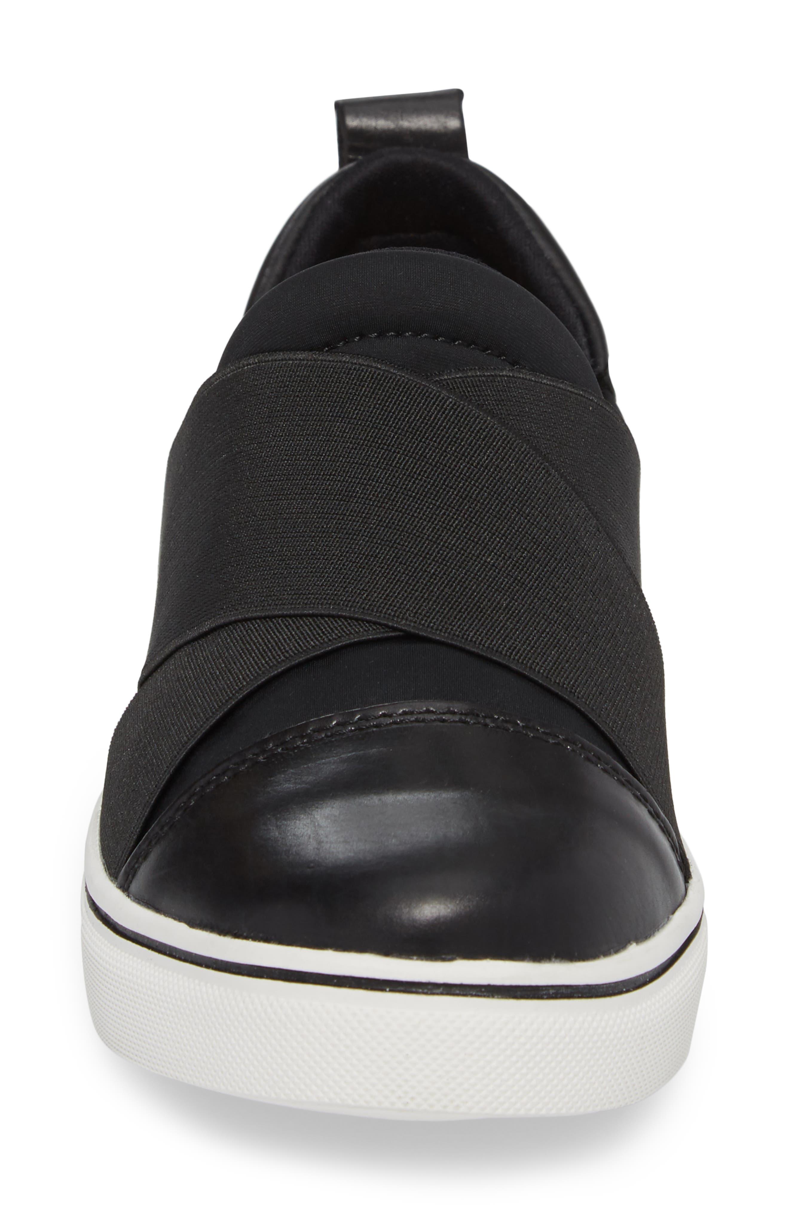 Elmwood Slip-On Sneaker,                             Alternate thumbnail 4, color,                             BLACK LEATHER