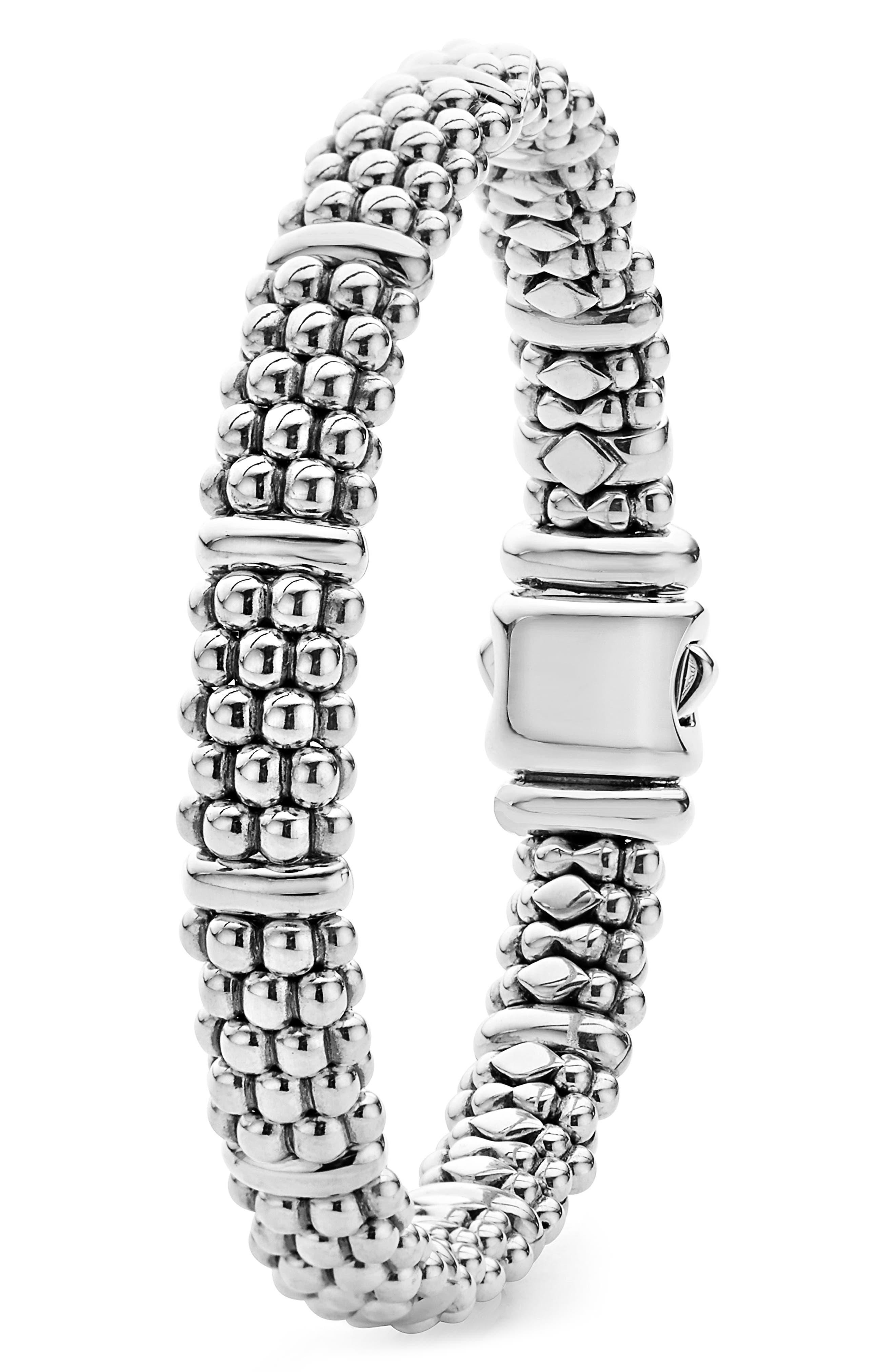 LAGOS,                             Oval Rope Caviar Bracelet,                             Alternate thumbnail 3, color,                             SILVER