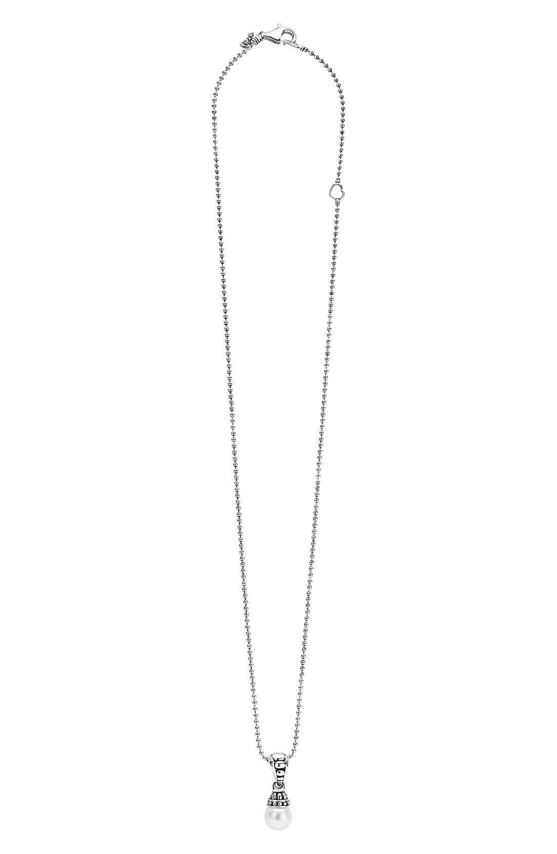 'Luna' Pearl Pendant Necklace,                             Alternate thumbnail 3, color,                             040