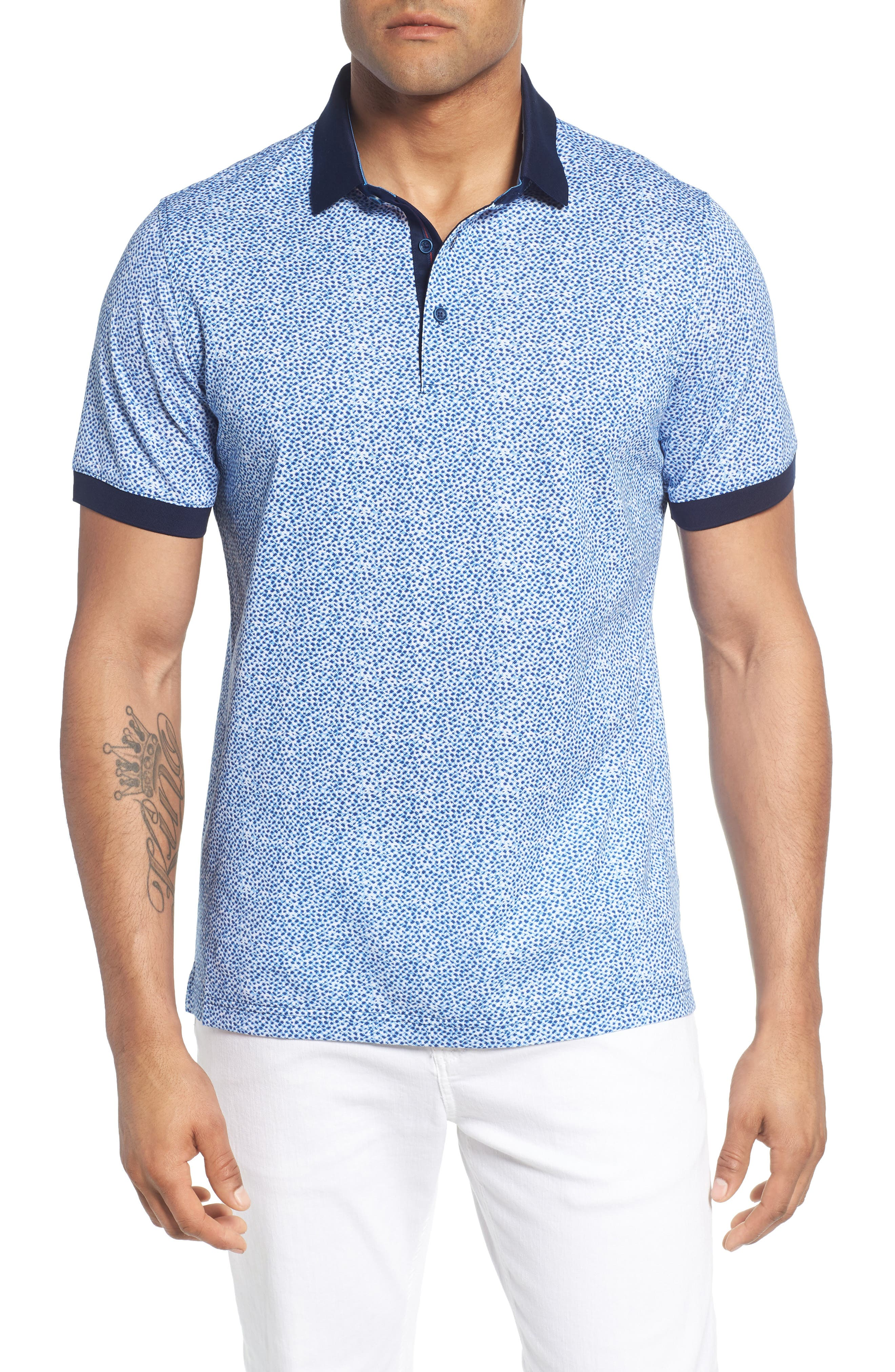 Stipple Print Piqué Polo,                         Main,                         color, 411