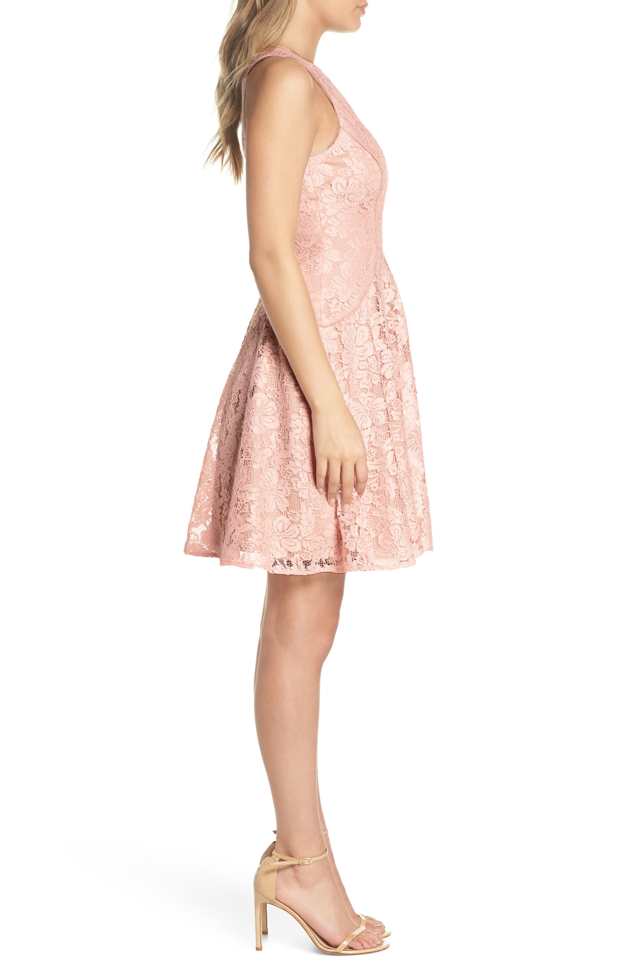 Lace Fit & Flare Dress,                             Alternate thumbnail 3, color,                             682