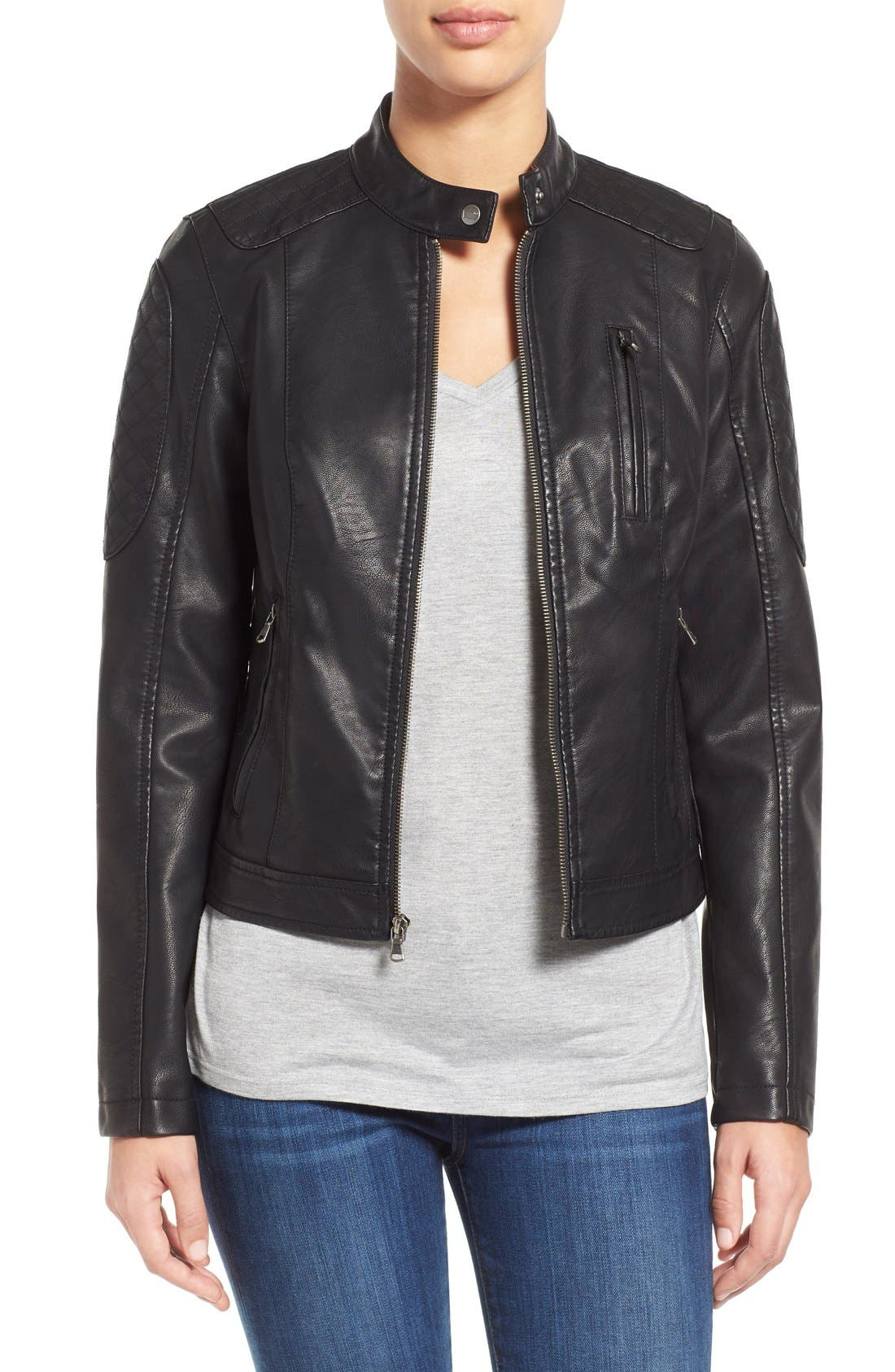 Quilt Detail Faux Leather Racer Jacket,                         Main,                         color, 001