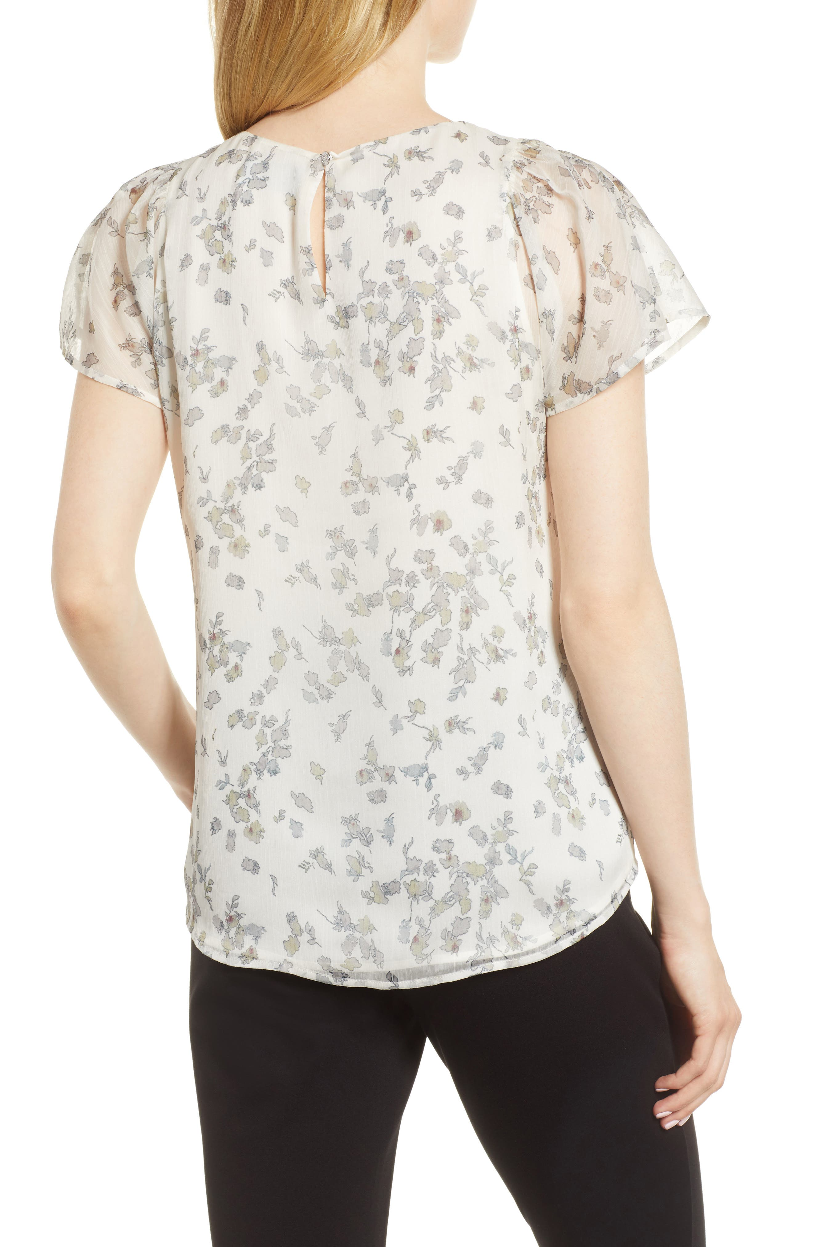Floral Flutter Sleeve Textured Chiffon Blouse,                             Alternate thumbnail 4, color,