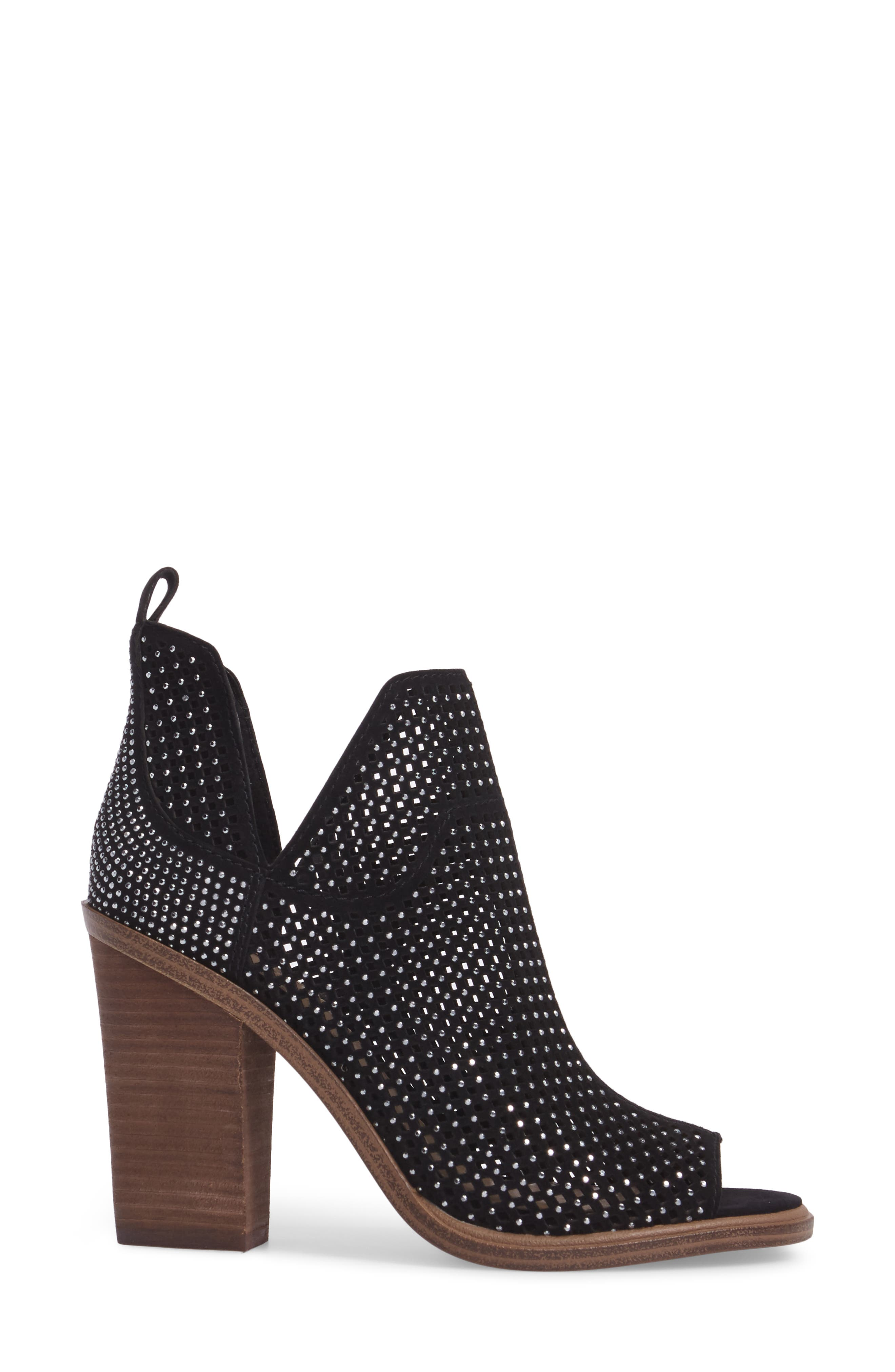 VINCE CAMUTO,                             Kiminni Open Toe Bootie,                             Alternate thumbnail 3, color,                             001
