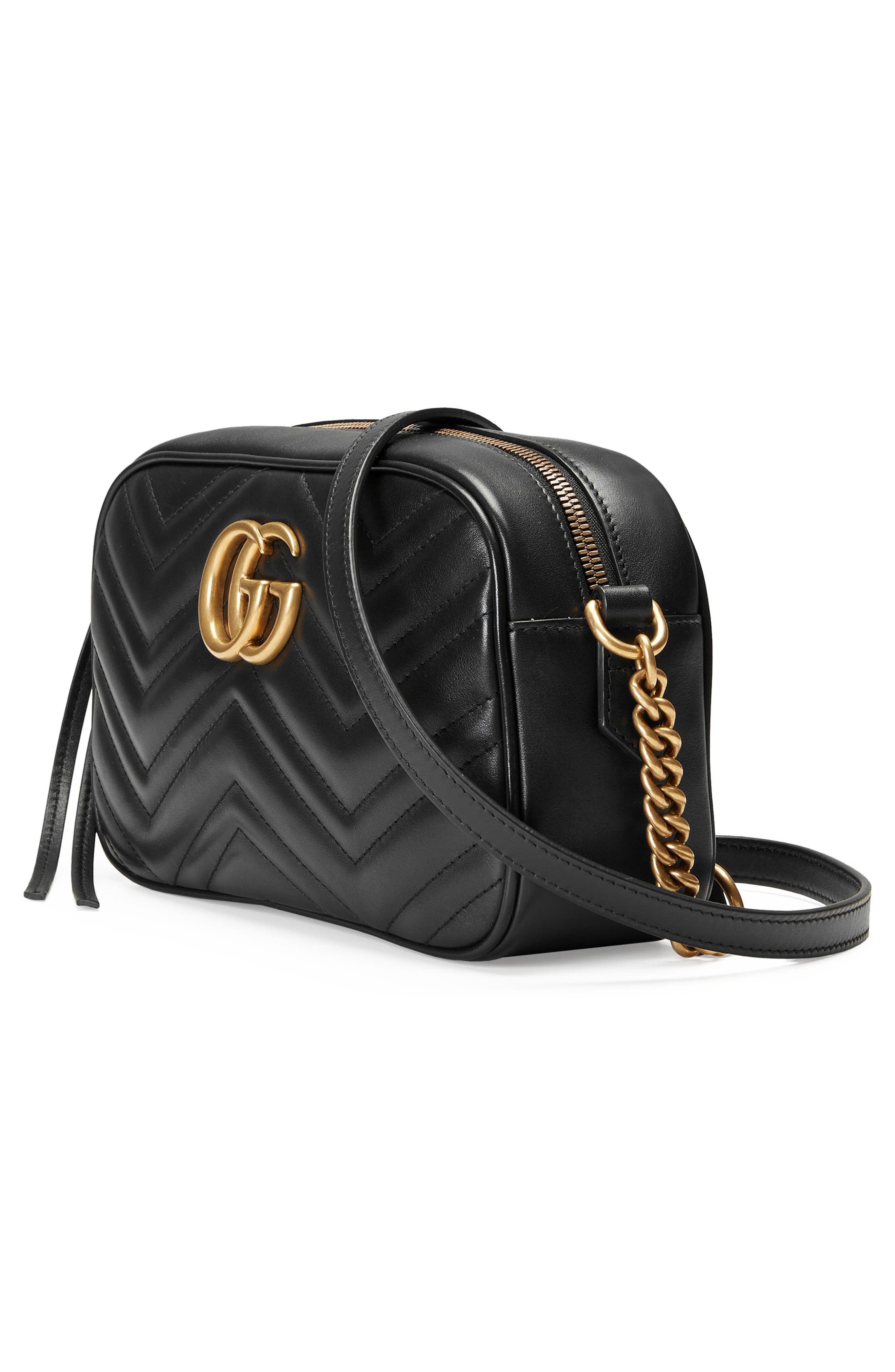 Small GG Marmont 2.0 Matelassé Leather Camera Bag,                             Alternate thumbnail 4, color,                             NERO/ NERO