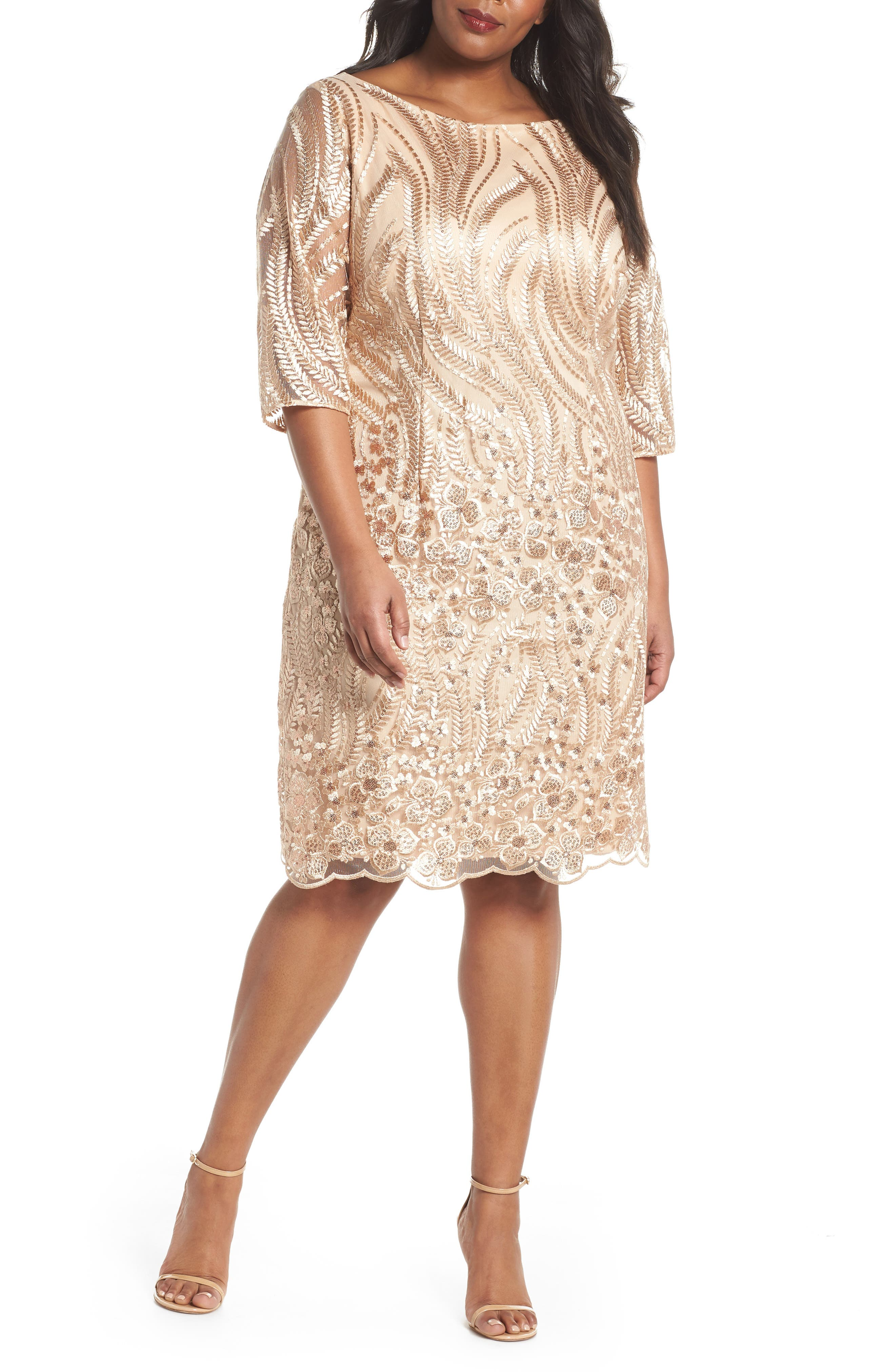 Sequin Embroidered Lace Sheath Dress,                             Main thumbnail 1, color,                             CHAMPAGNE