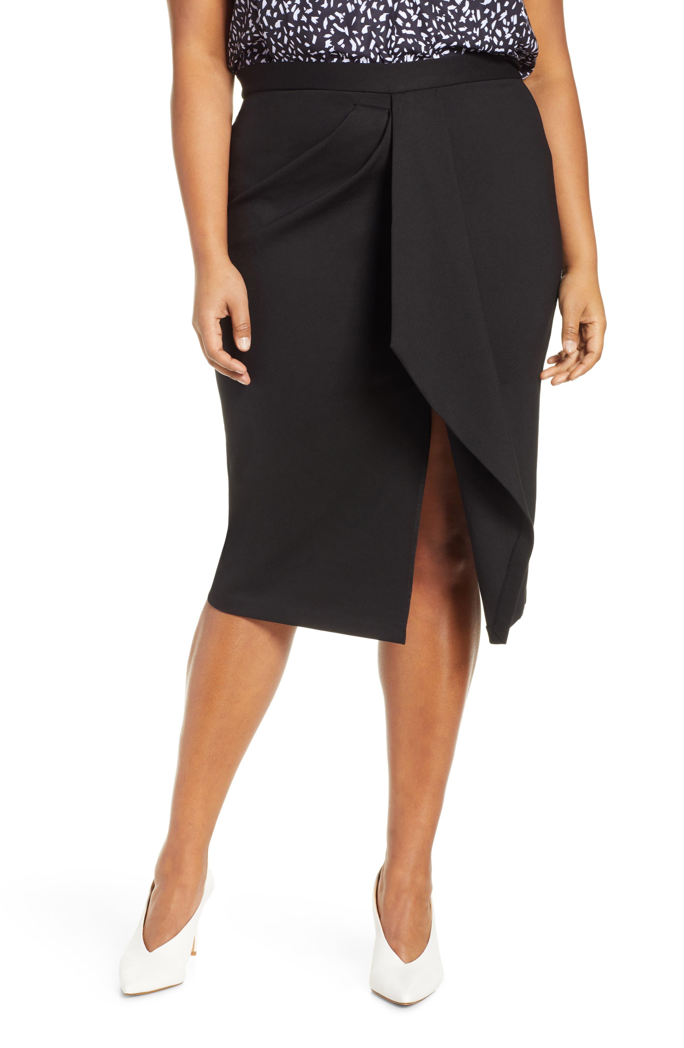 Plus Size Jason Wu X Eloquii Asymmetrical Drape Pencil Skirt, Black