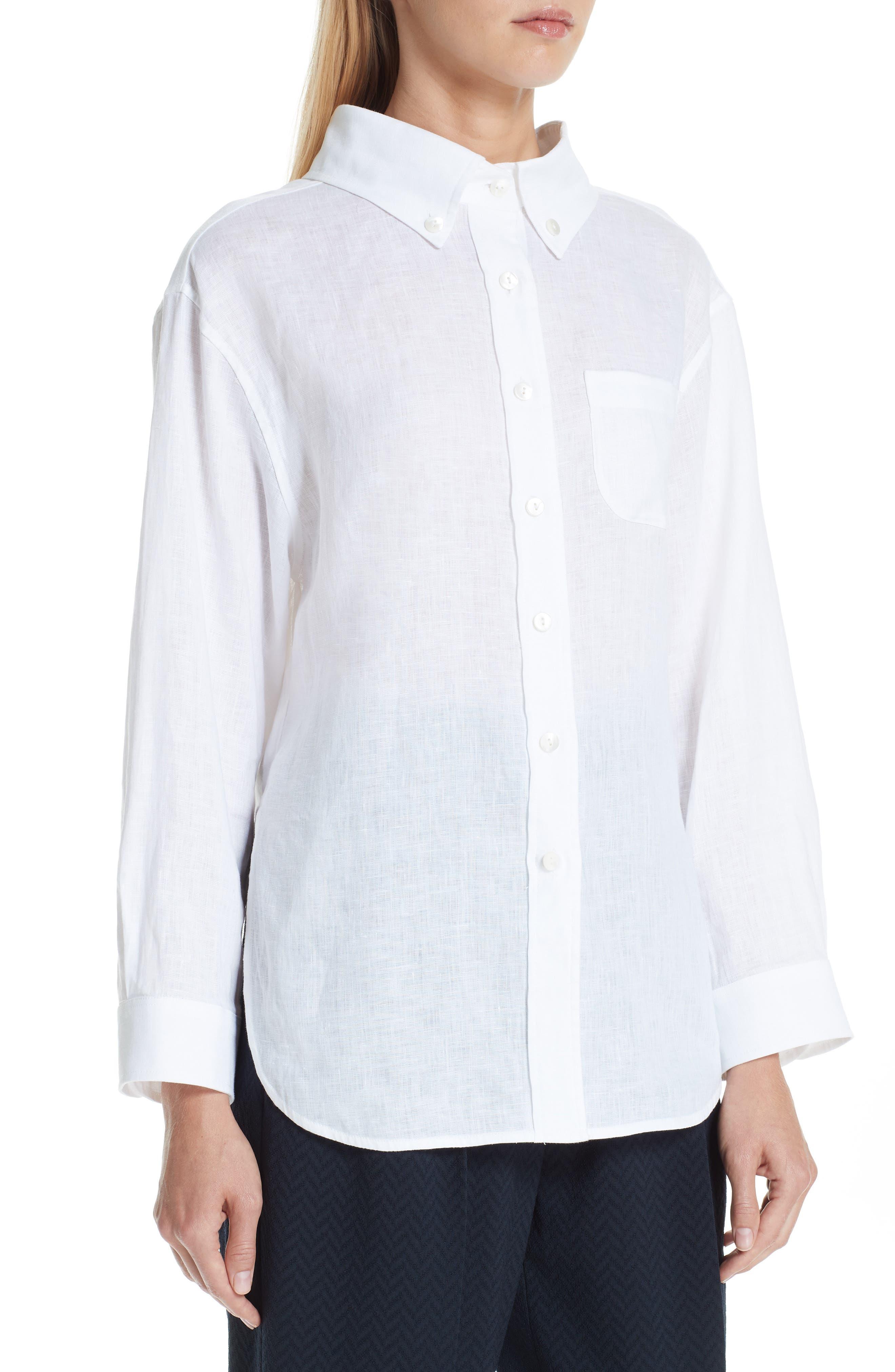 EMPORIO ARMANI,                             Long Sleeve Linen Blouse,                             Alternate thumbnail 4, color,                             BIANCO