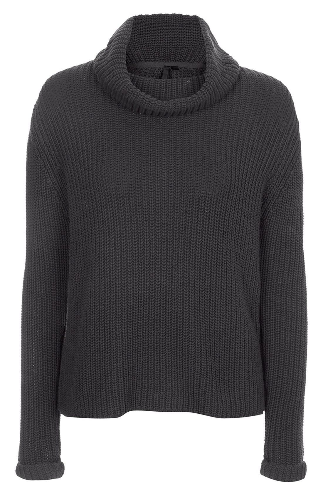 TOPSHOP BOUTIQUE,                             Roll Neck Fisherman Sweater,                             Alternate thumbnail 4, color,                             021