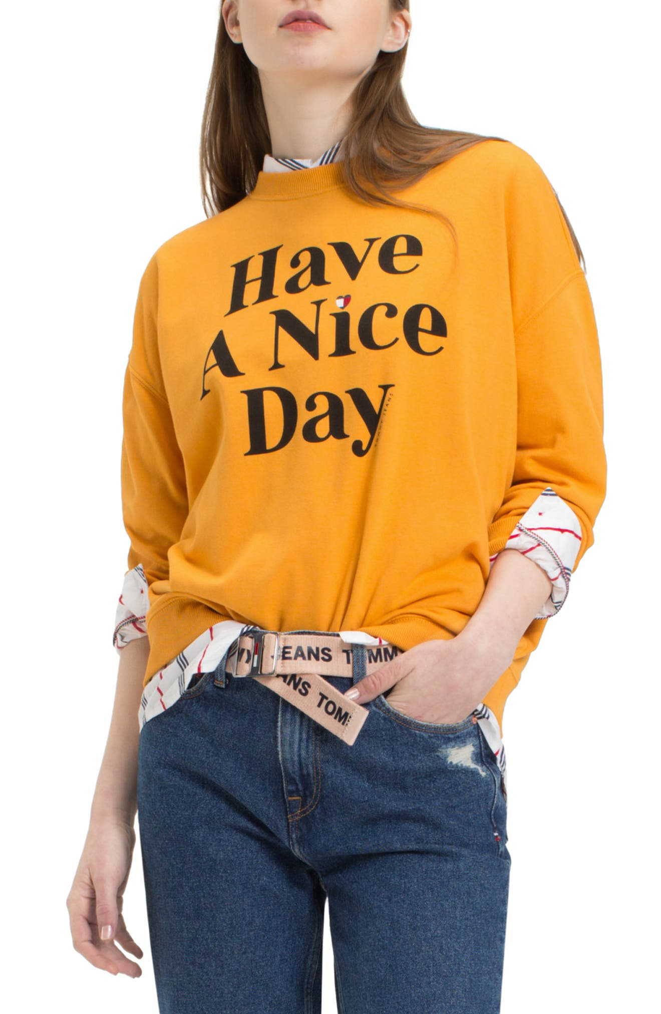 TJW Have A Nice Day Sweatshirt,                         Main,                         color, BUTTERSCOTCH