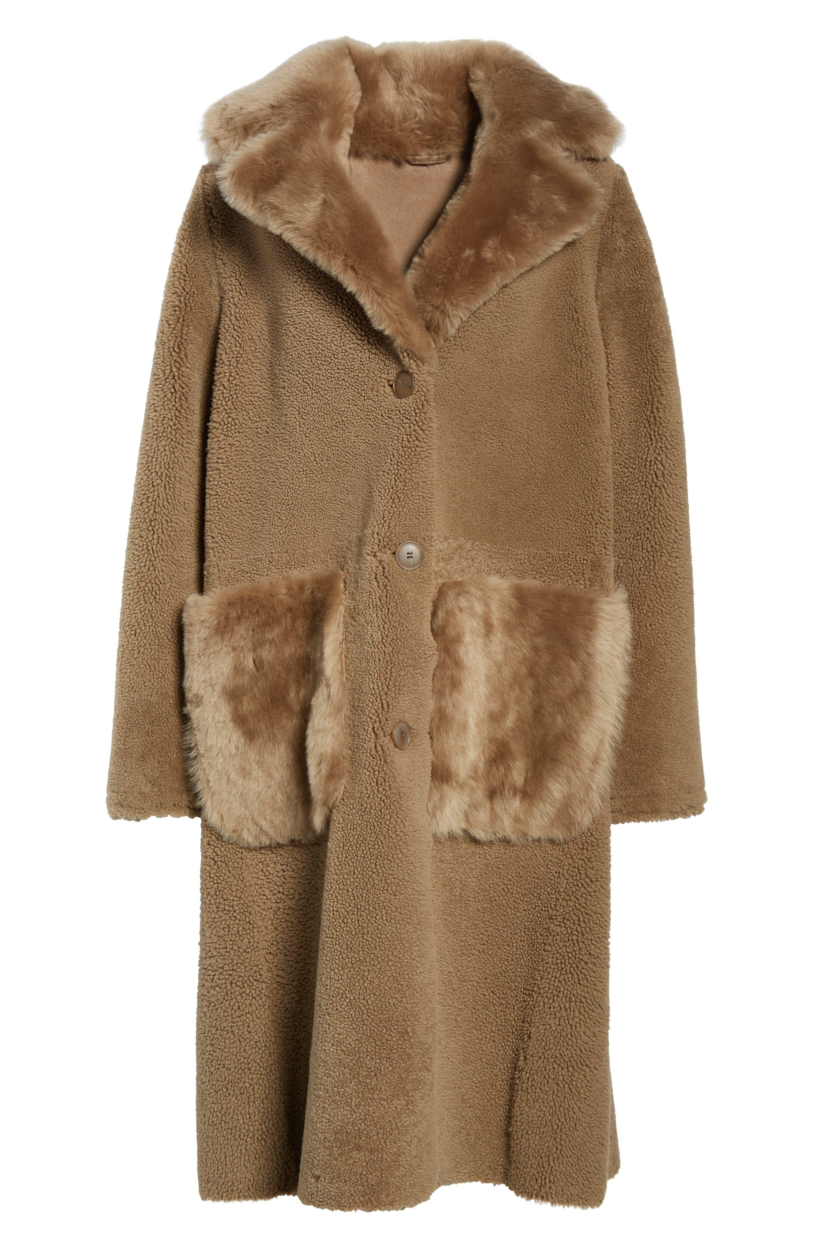 HISO,                             Genuine Merino Shearling Coat,                             Alternate thumbnail 5, color,                             250