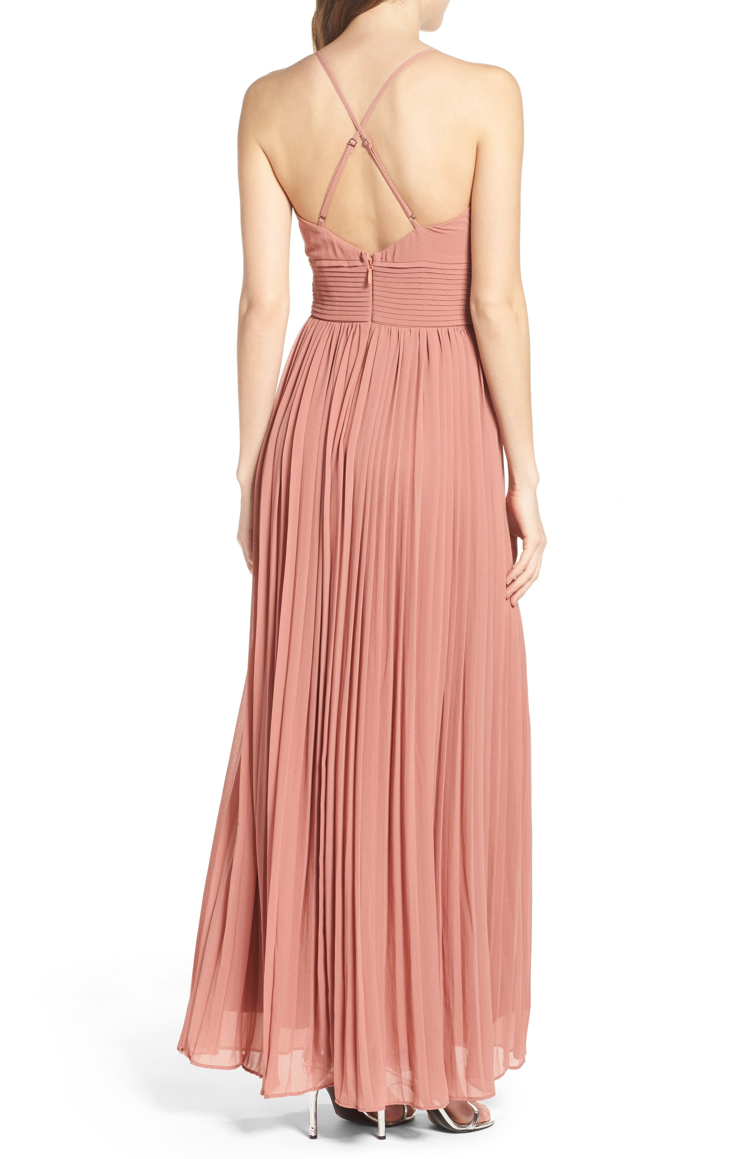 Plunging V-Neck Pleat Georgette Gown,                             Alternate thumbnail 18, color,