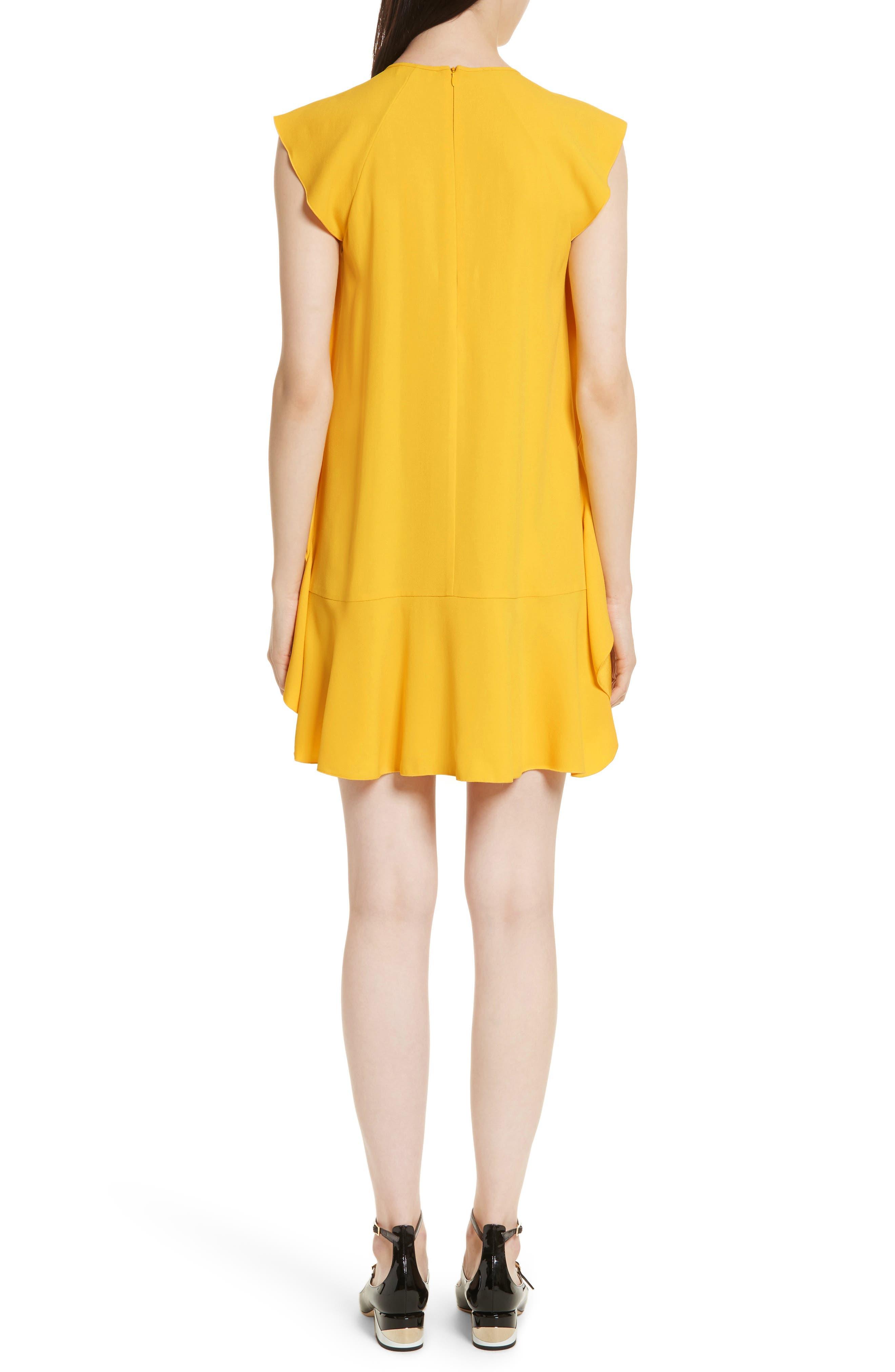 Ruffle Satin Back Crepe Dress,                             Alternate thumbnail 2, color,                             700