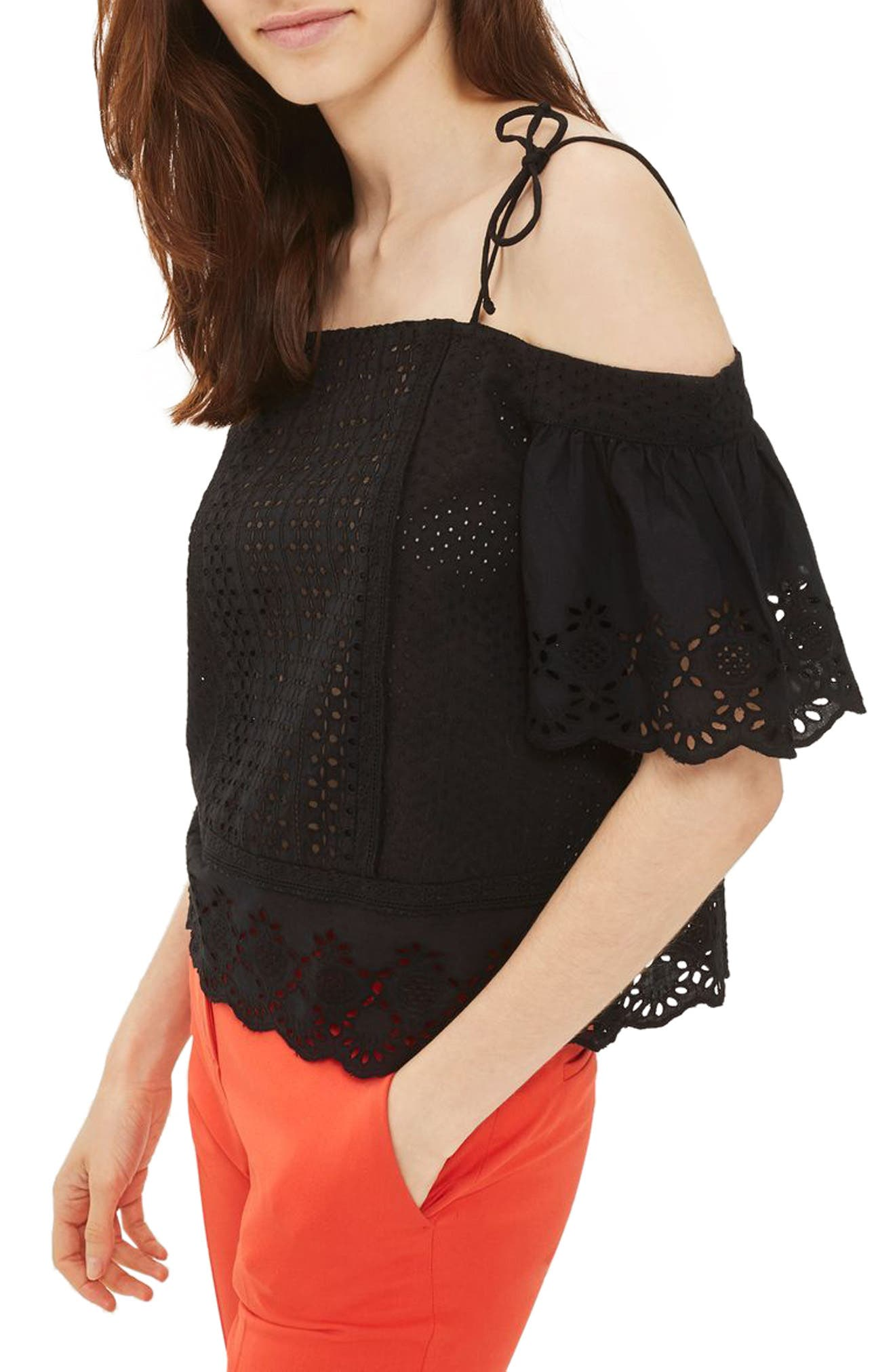 Broderie Bardot Top,                             Alternate thumbnail 3, color,                             001