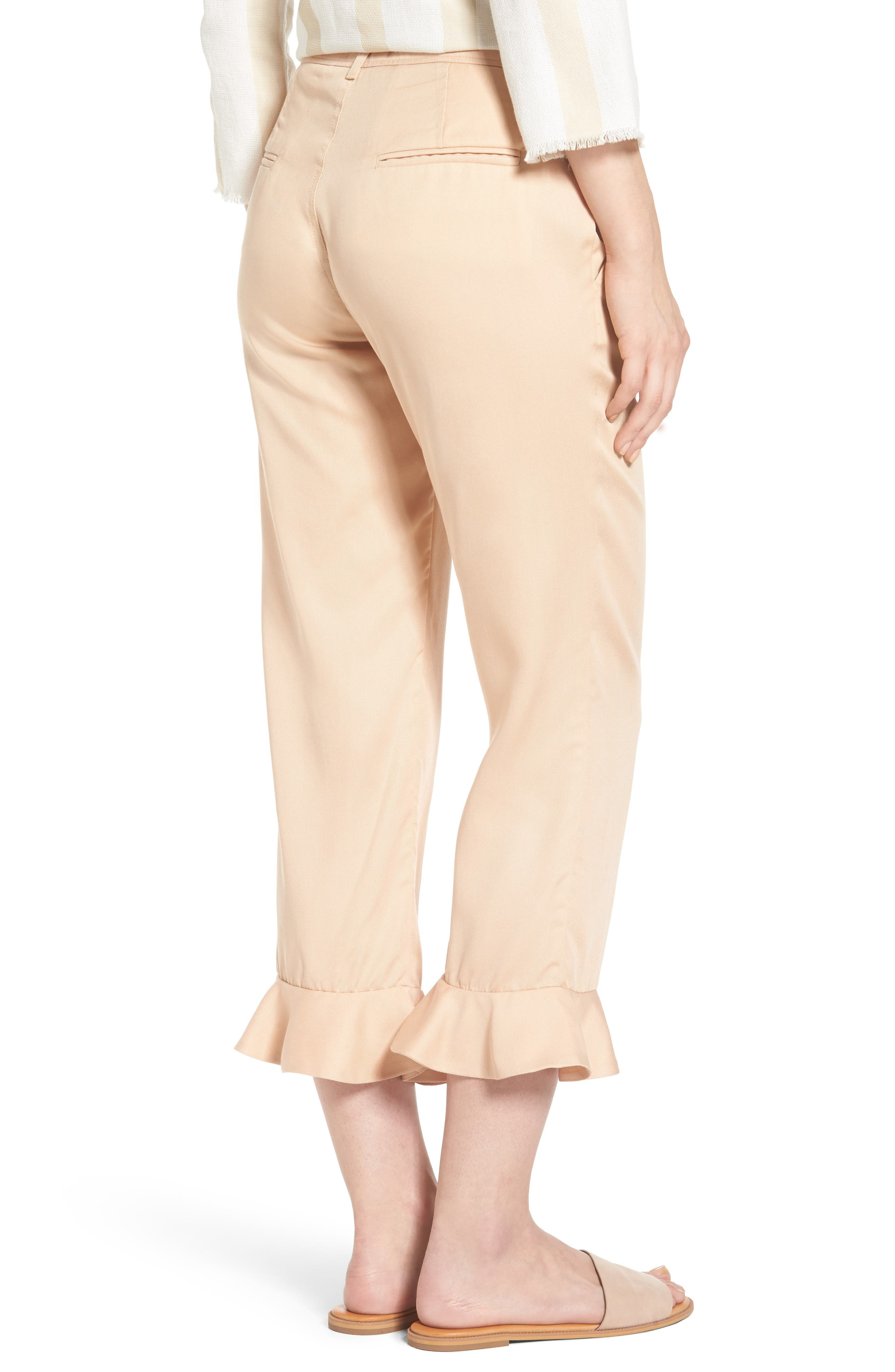 Ruffle Ankle Trousers,                             Alternate thumbnail 2, color,