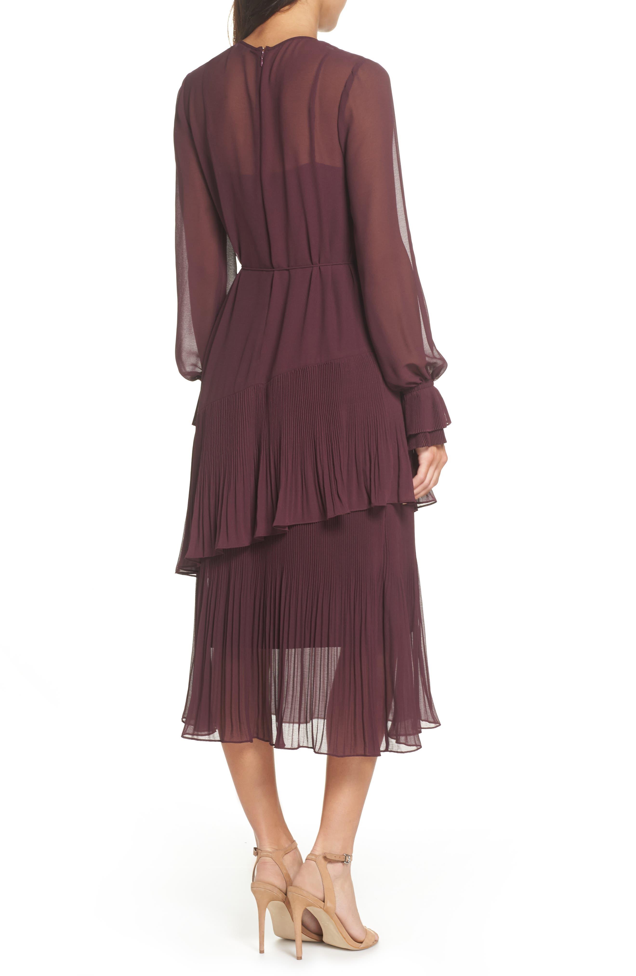 Pleat Detail Midi Dress,                             Alternate thumbnail 2, color,                             BURGUNDY STEM