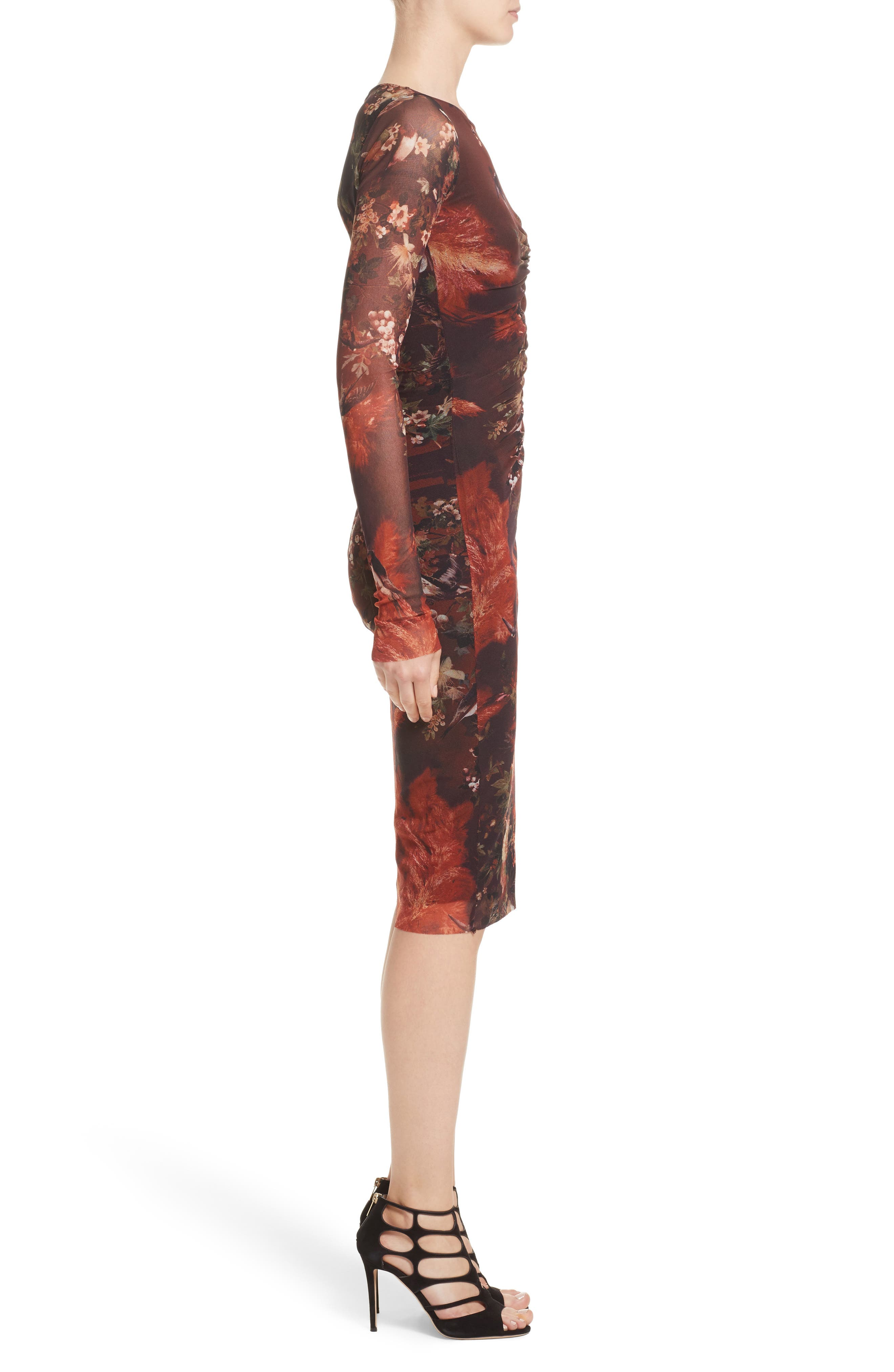 Hummingbird Print Ruched Tulle Dress,                             Alternate thumbnail 3, color,                             610