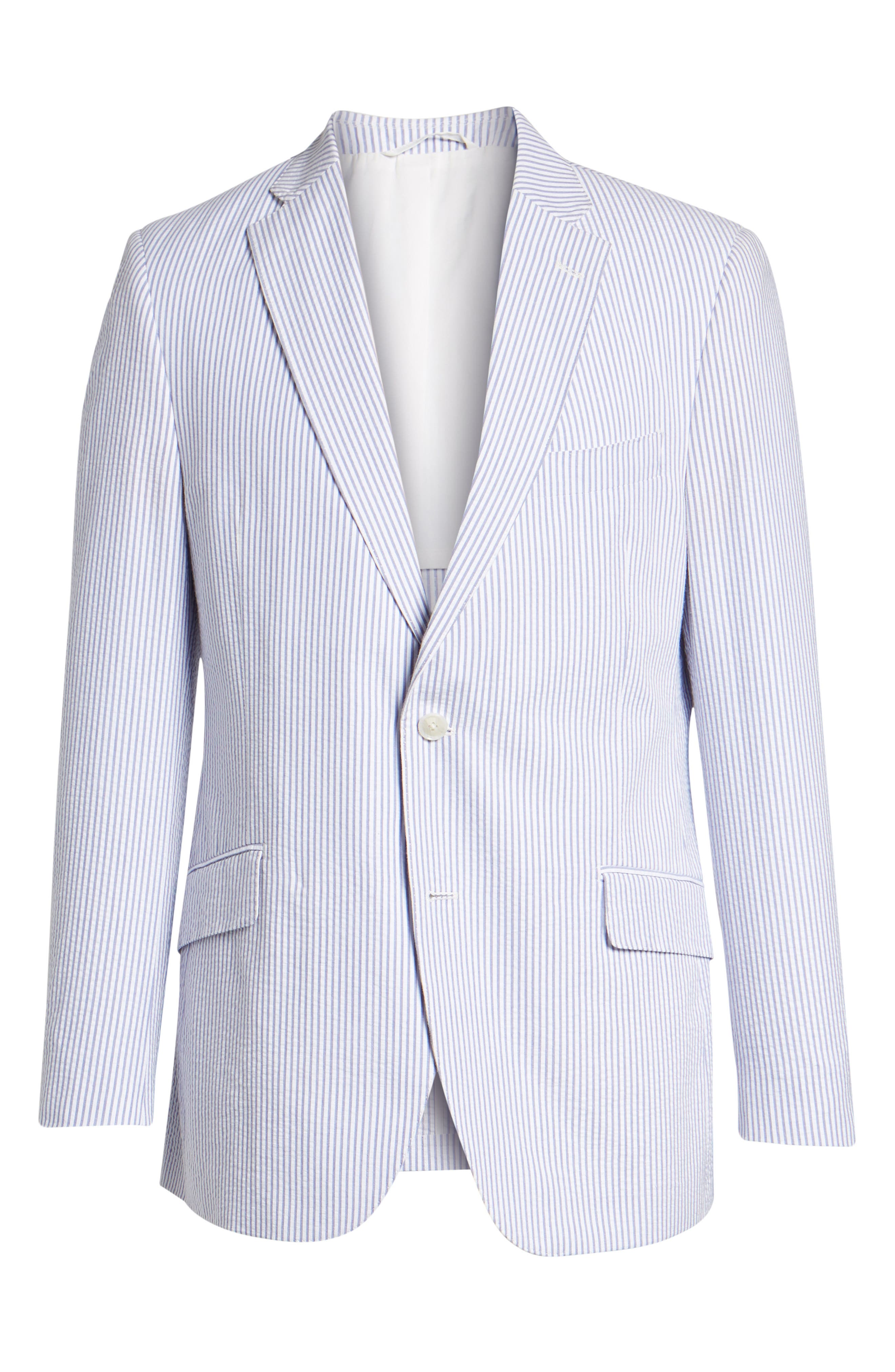 Jack AIM Classic Fit Seersucker Sport Coat,                             Alternate thumbnail 5, color,                             BLUE AND WHITE