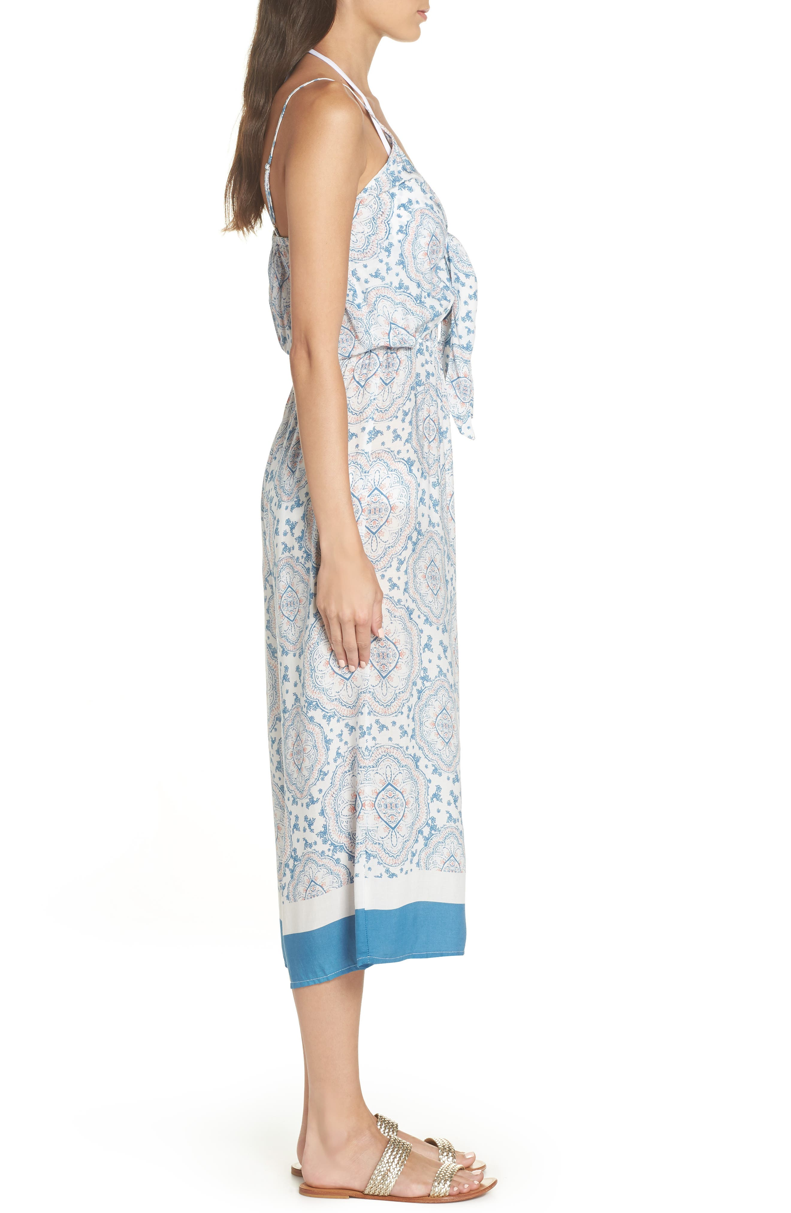 Tie Front Cover-Up Gaucho Jumpsuit,                             Alternate thumbnail 3, color,                             BLUE/ CORAL CANDY
