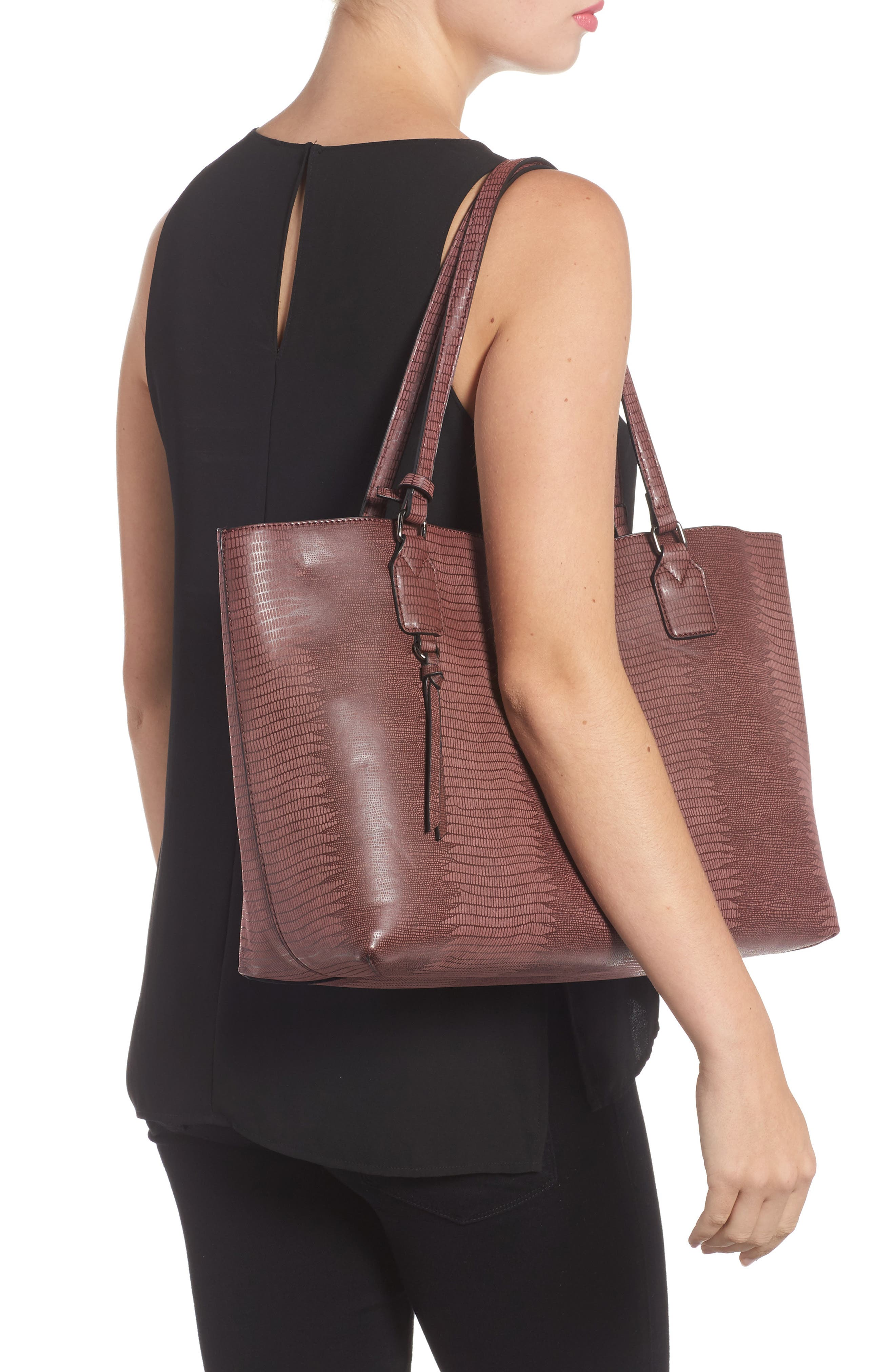 Snake Embossed Faux Leather Tote,                             Alternate thumbnail 6, color,