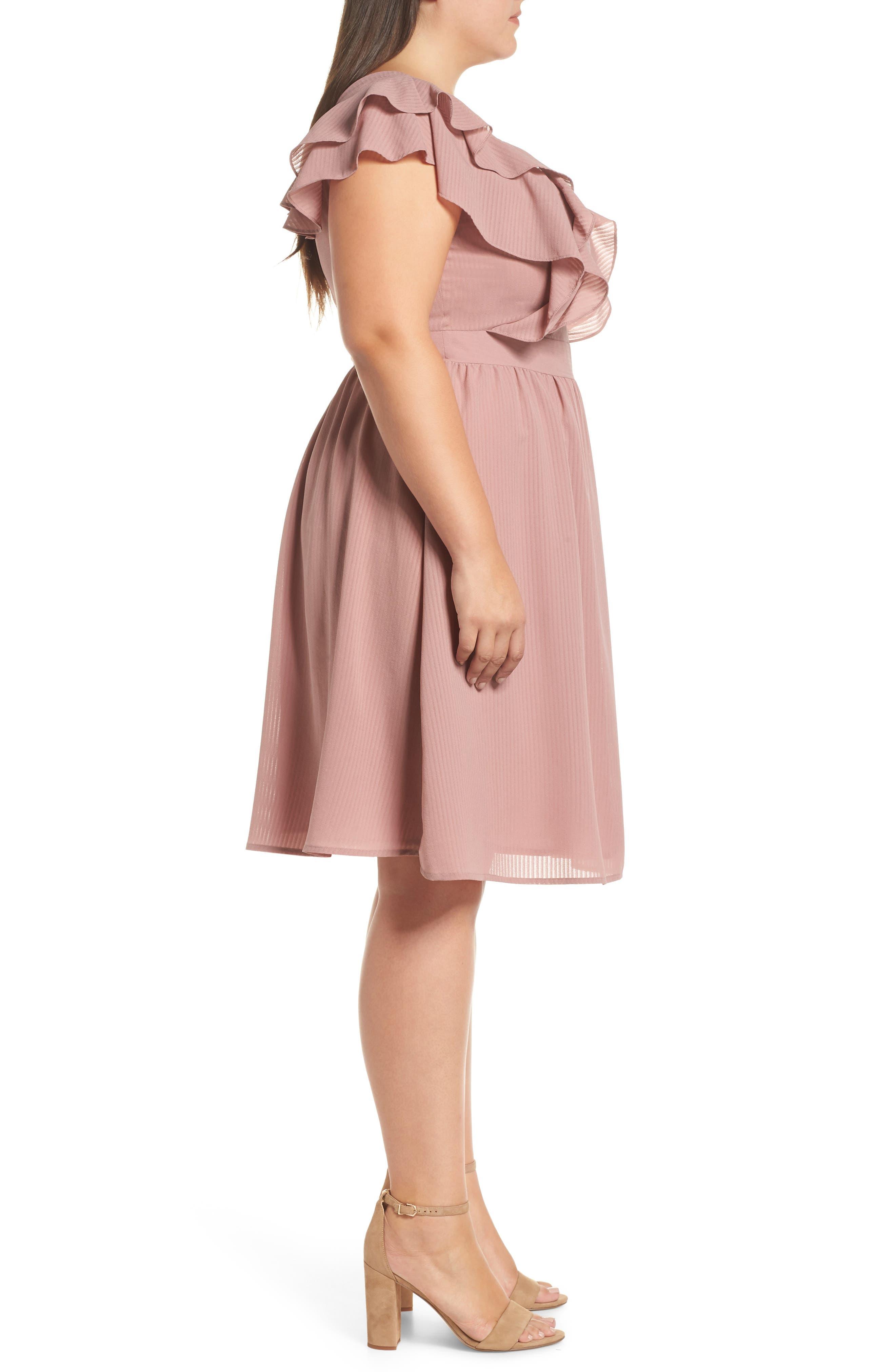 Ruffle Sleeve Fit & Flare Dress,                             Alternate thumbnail 3, color,                             681
