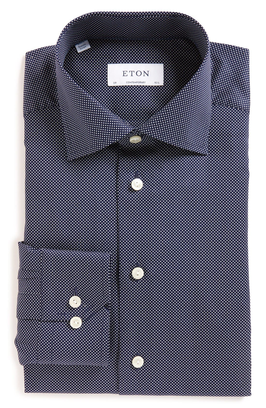 Contemporary Fit Signature Polka Dot Dress Shirt,                         Main,                         color, BLUE