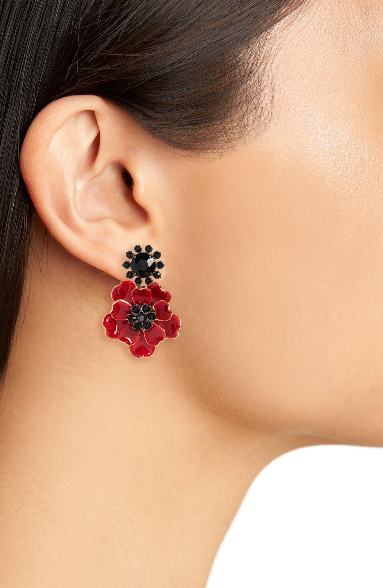 precious poppies drop earrings,                             Alternate thumbnail 2, color,                             616