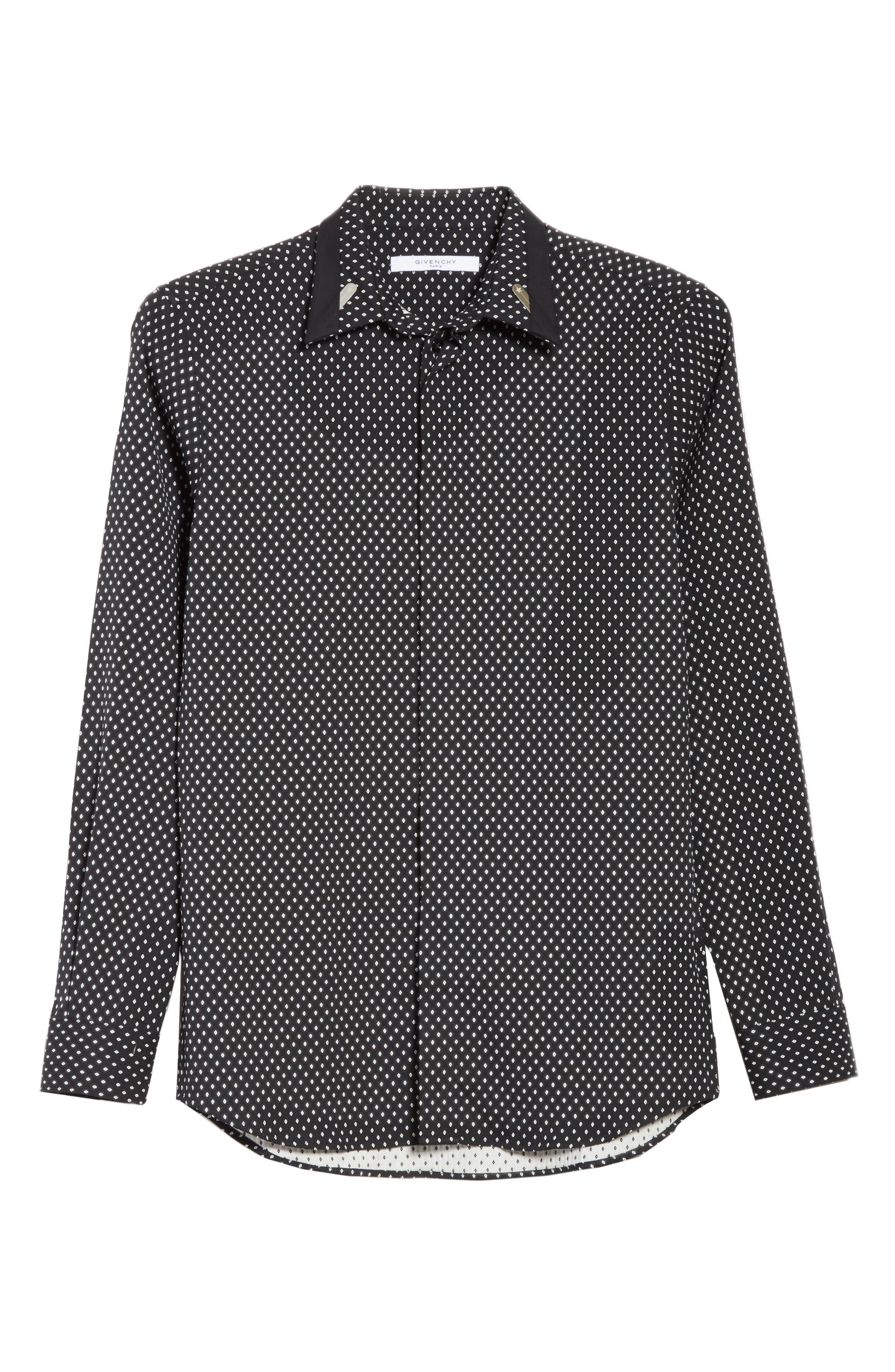 Jacquard Collar Stay Shirt,                             Alternate thumbnail 6, color,                             001