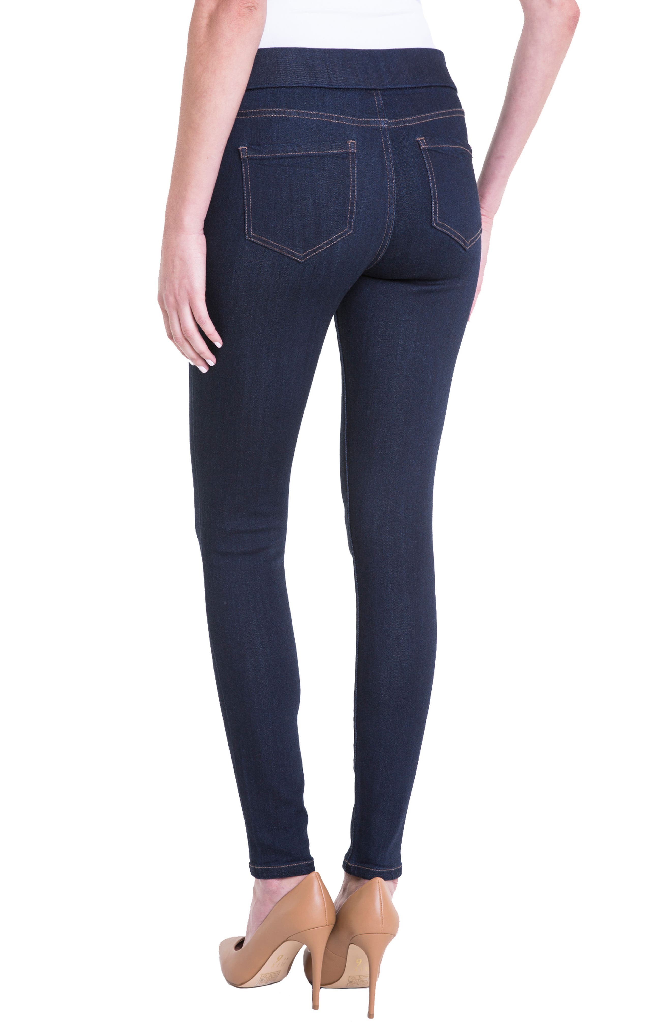 Sienna Pull-On Knit Denim Leggings,                             Alternate thumbnail 4, color,                             INDIGO RINSE