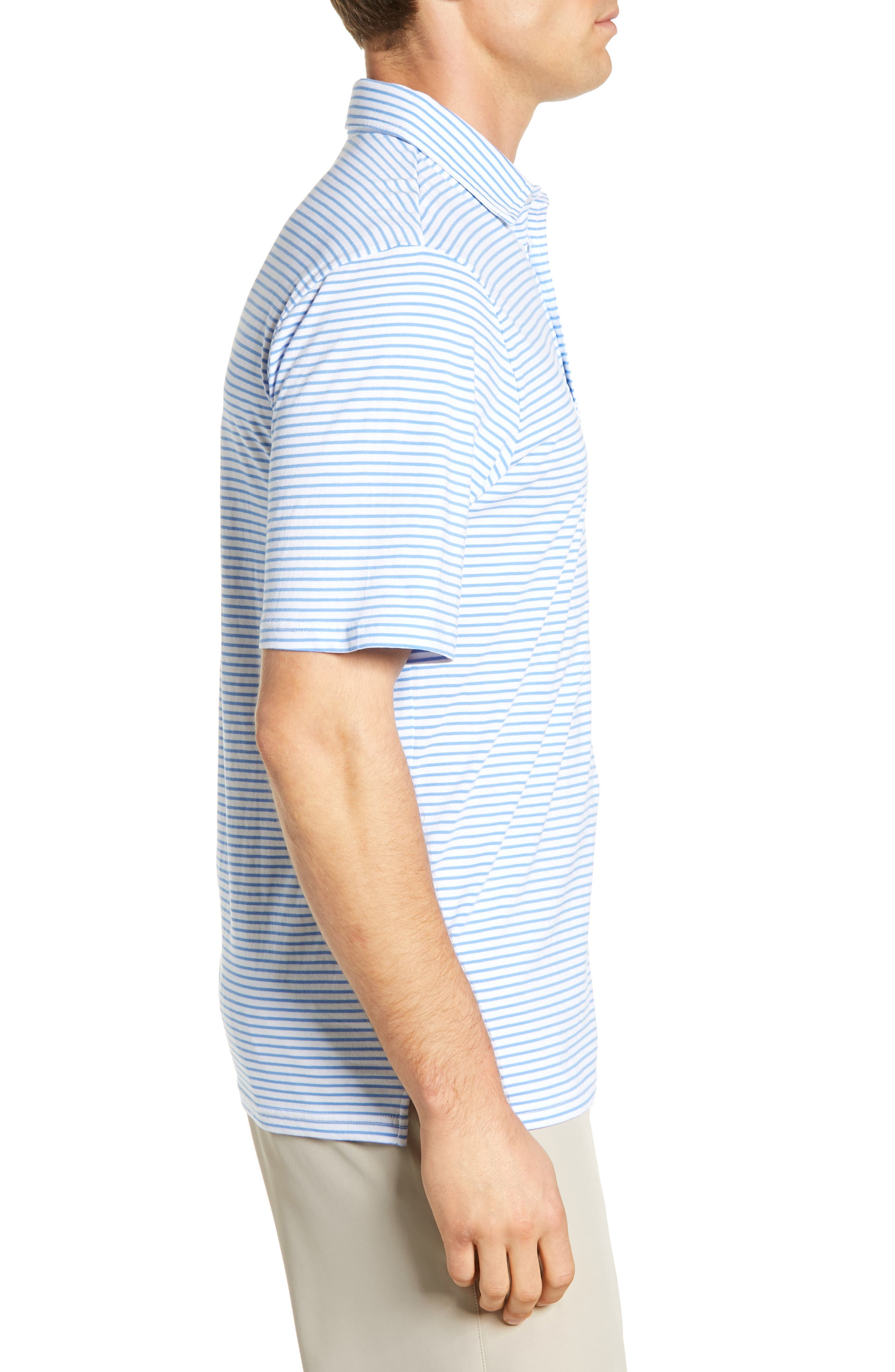 Macon Regular Fit Stripe Polo,                             Alternate thumbnail 3, color,                             WHITE