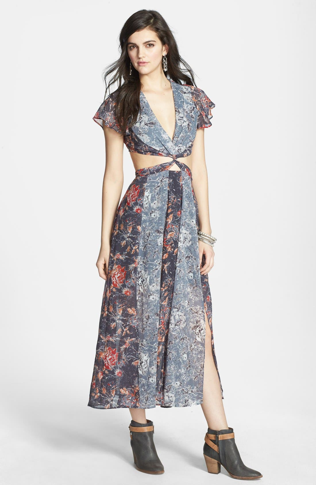 FREE PEOPLE,                             'Jasper' Mixed Print Twist Cutout Dress,                             Main thumbnail 1, color,                             400