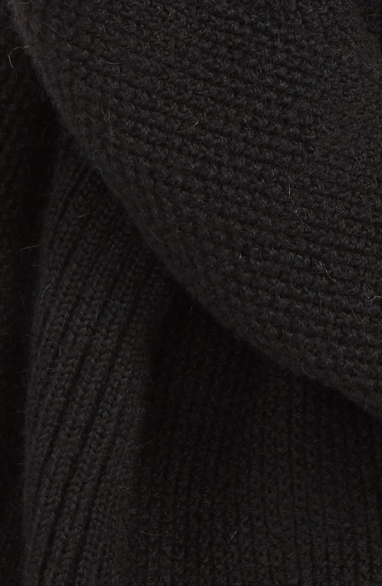 Textured Wool Scarf,                             Alternate thumbnail 3, color,                             BLACK