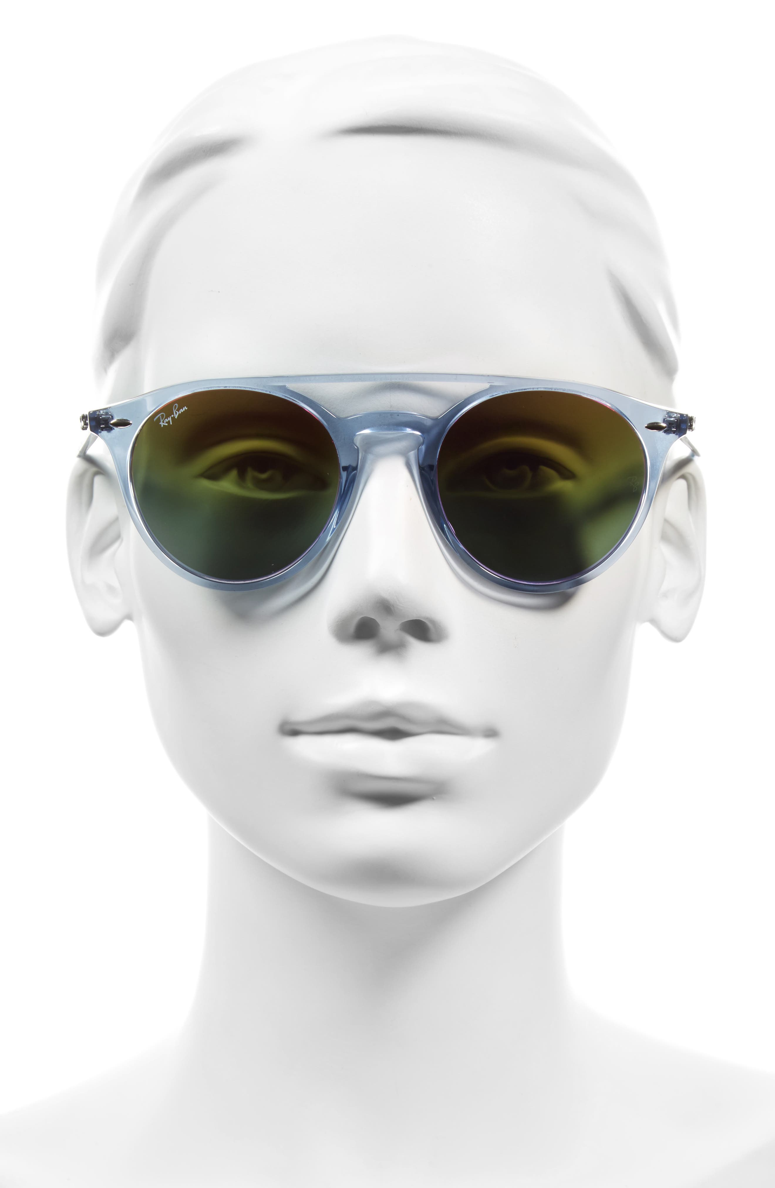 51mm Mirrored Rainbow Sunglasses,                             Alternate thumbnail 3, color,                             428