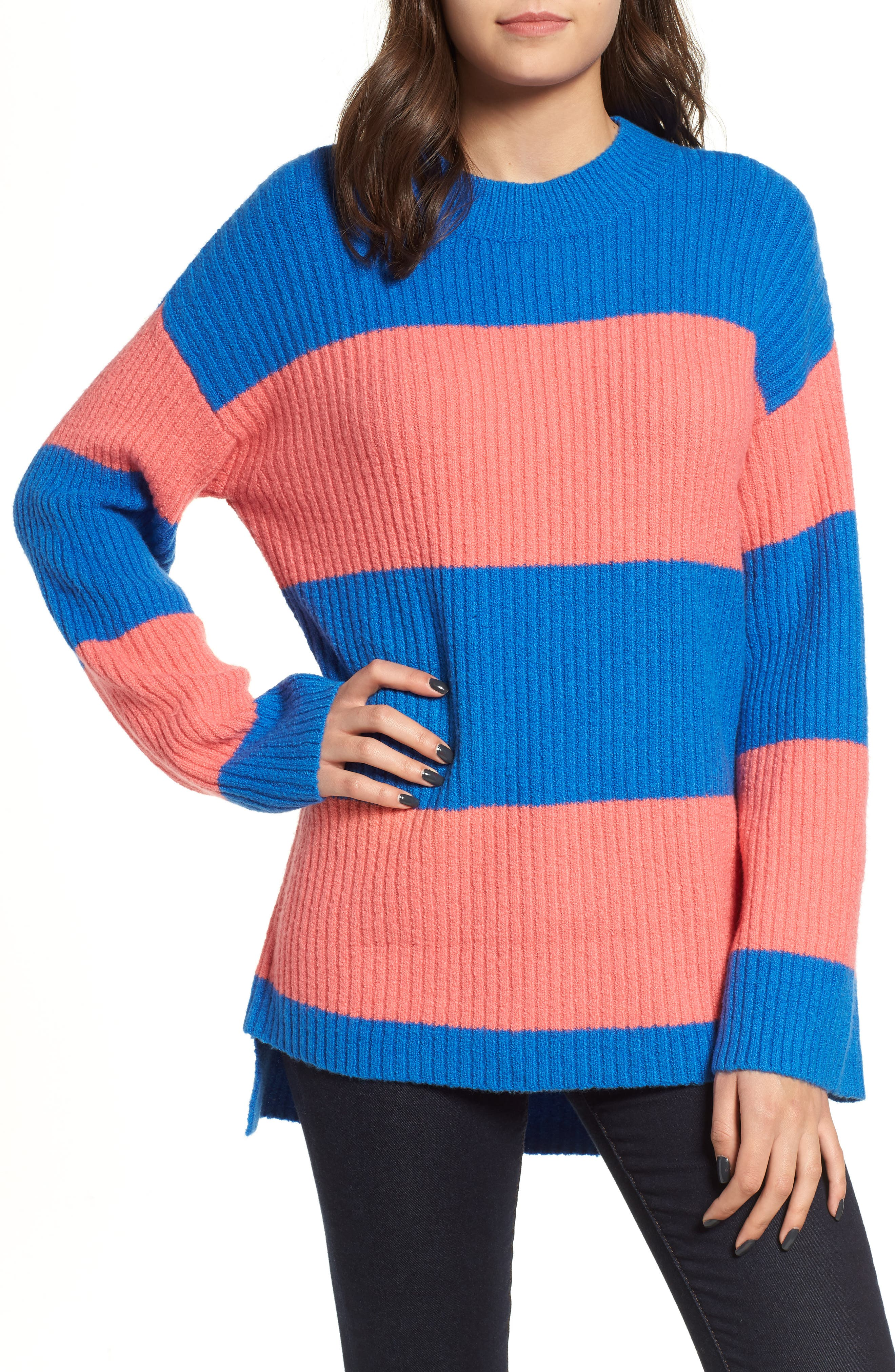 Rugby Stripe Sweater,                             Main thumbnail 1, color,                             BLUE BOAT COURTNEY STRIPE