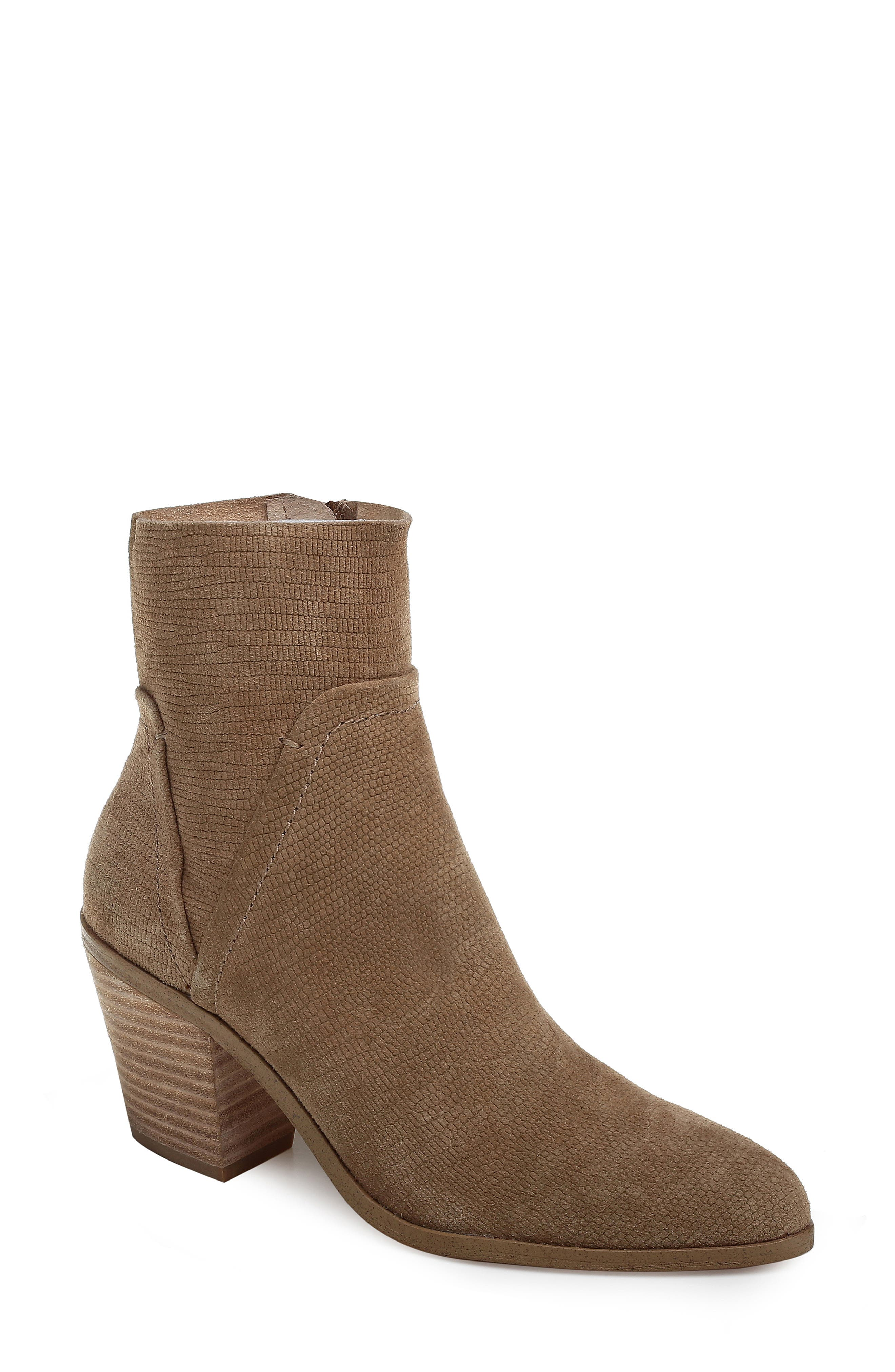 Cherie Bootie,                             Main thumbnail 1, color,                             OAT EMBOSSED SUEDE