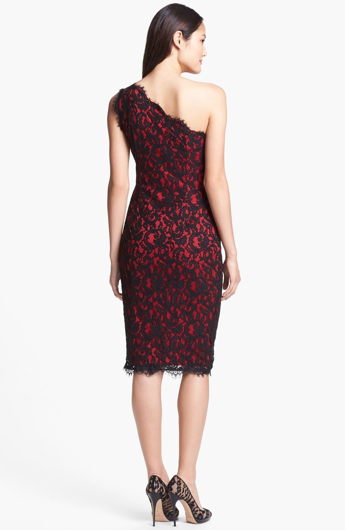 One-Shoulder Lace Sheath Dress,                             Alternate thumbnail 3, color,                             001