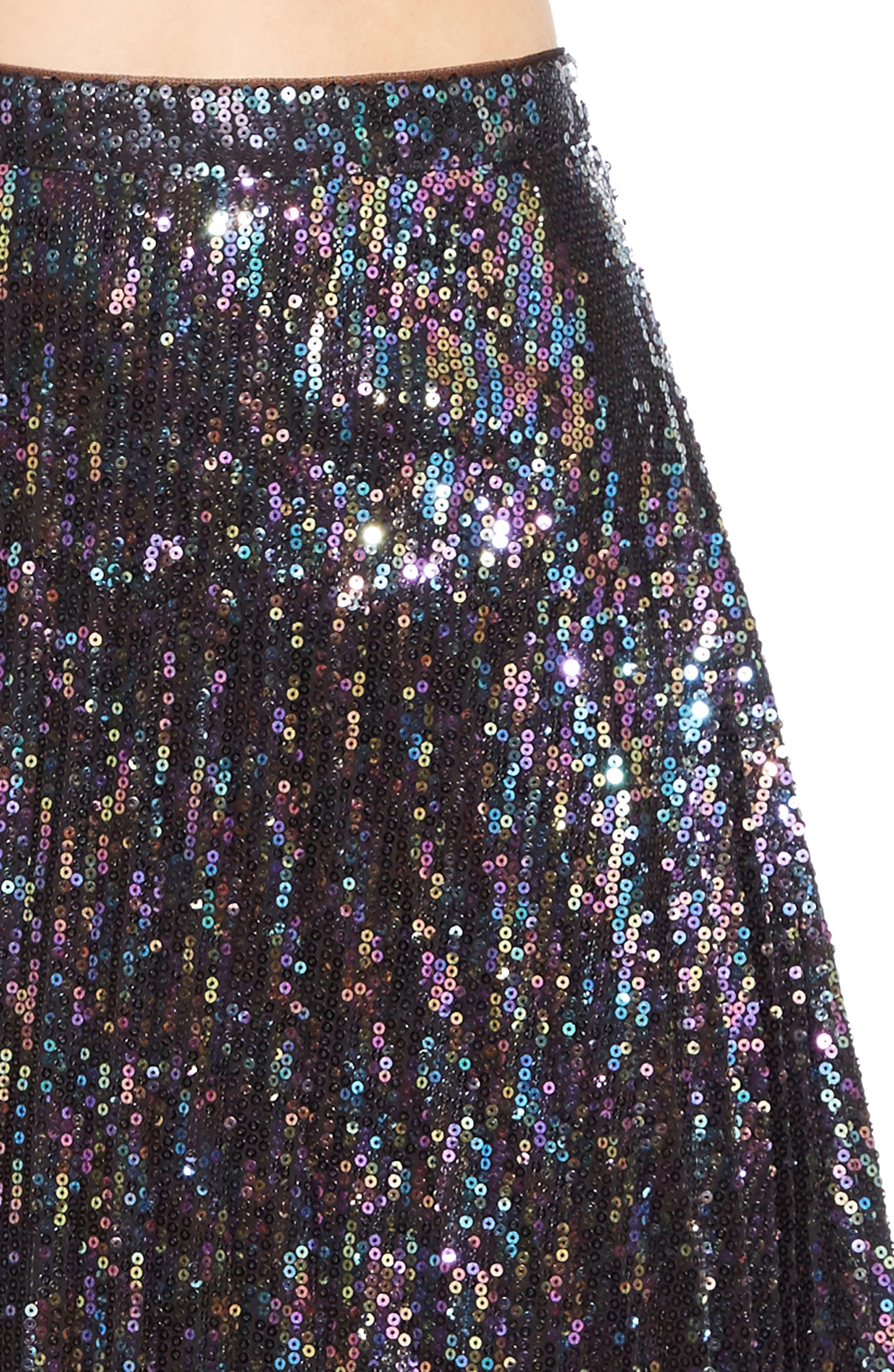 Citrine Sequin Skirt,                             Alternate thumbnail 4, color,                             PETROL