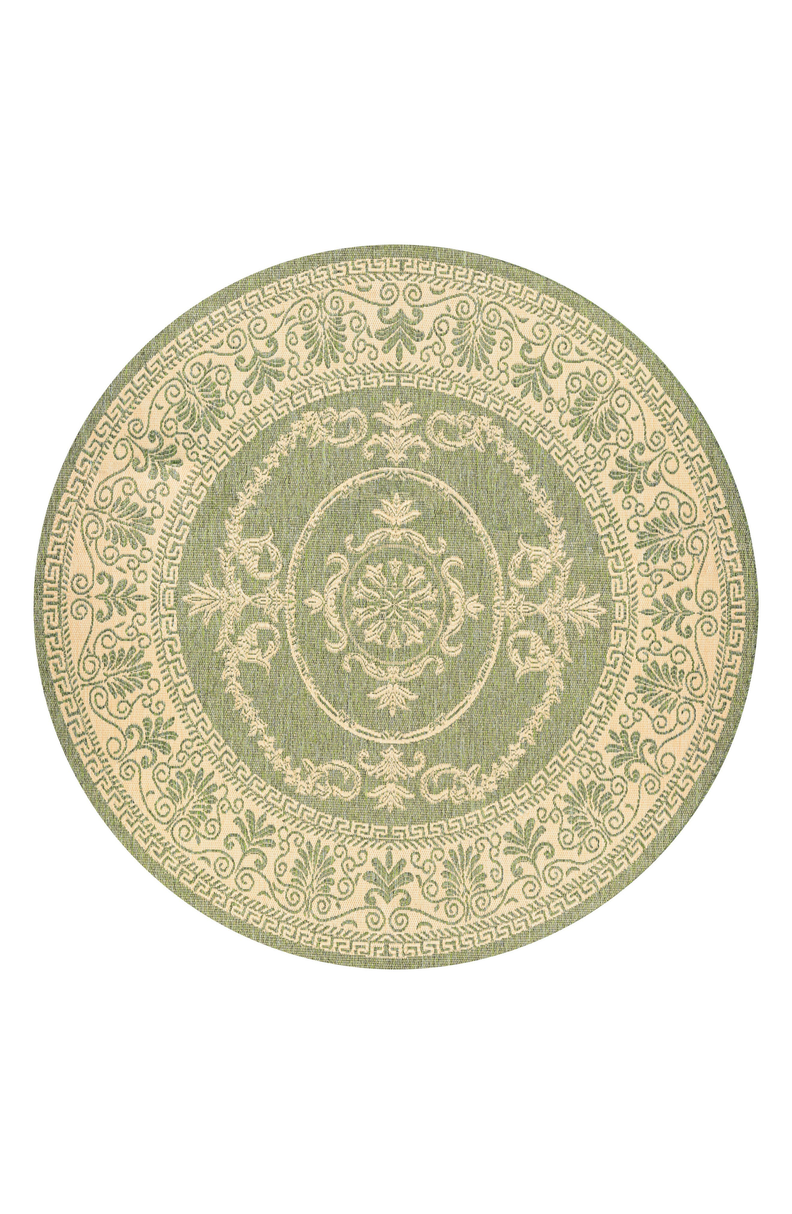 Antique Medallion Indoor/Outdoor Rug,                         Main,                         color, GREEN/ NATURAL