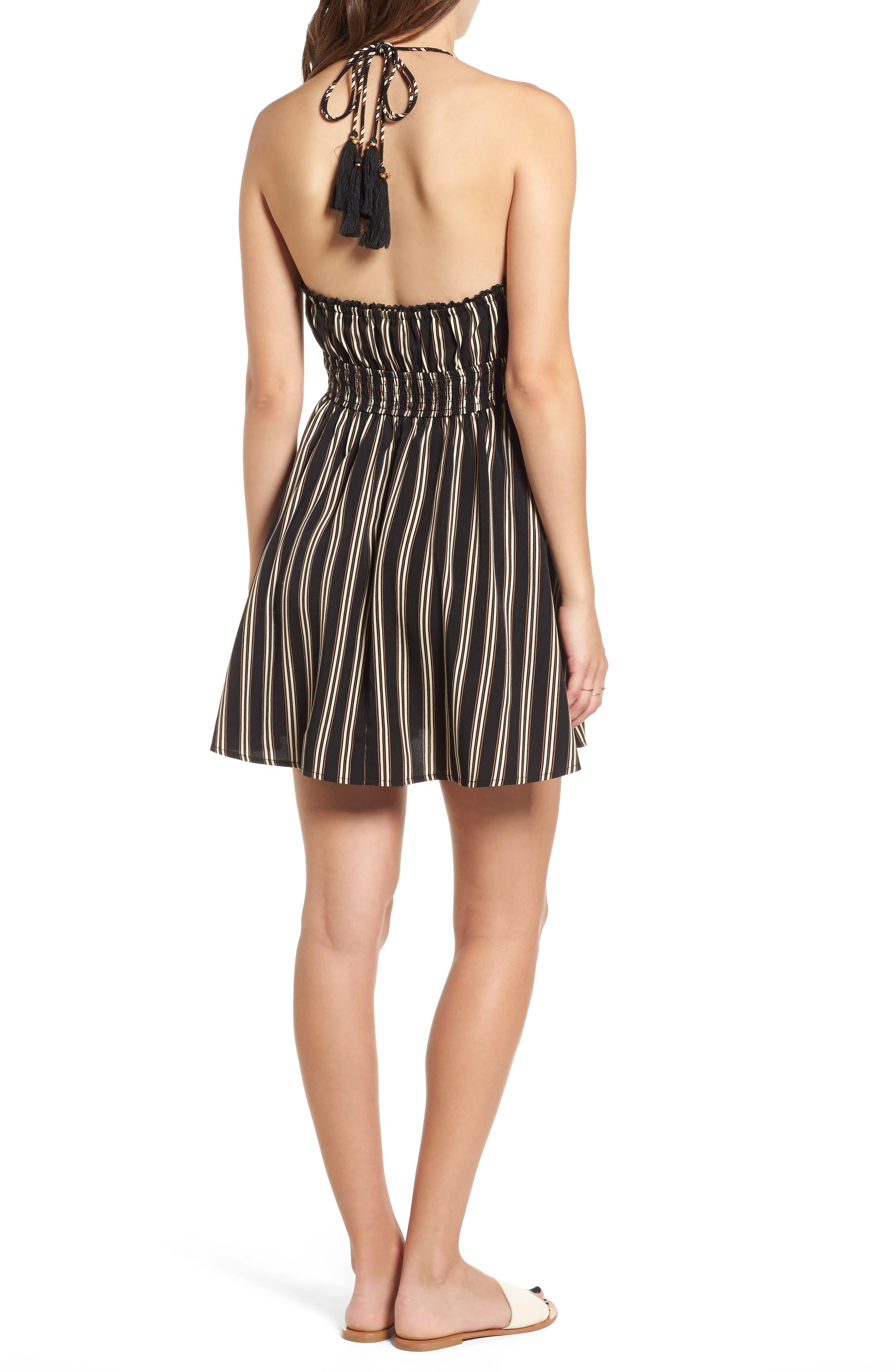 Stripe Halter Skater Dress,                             Alternate thumbnail 2, color,                             003