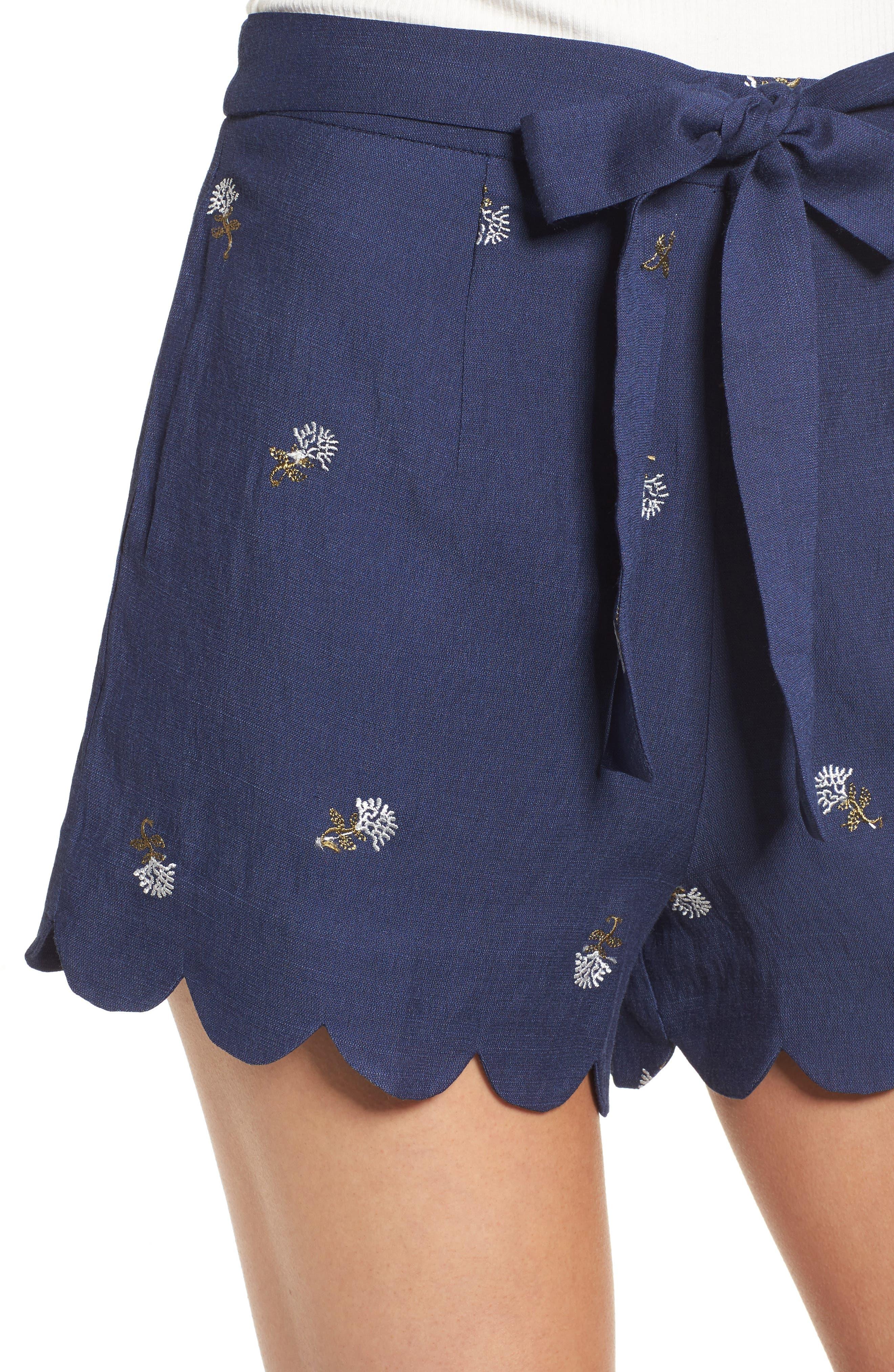 High Waist Scallop Hem Shorts,                             Alternate thumbnail 4, color,                             400