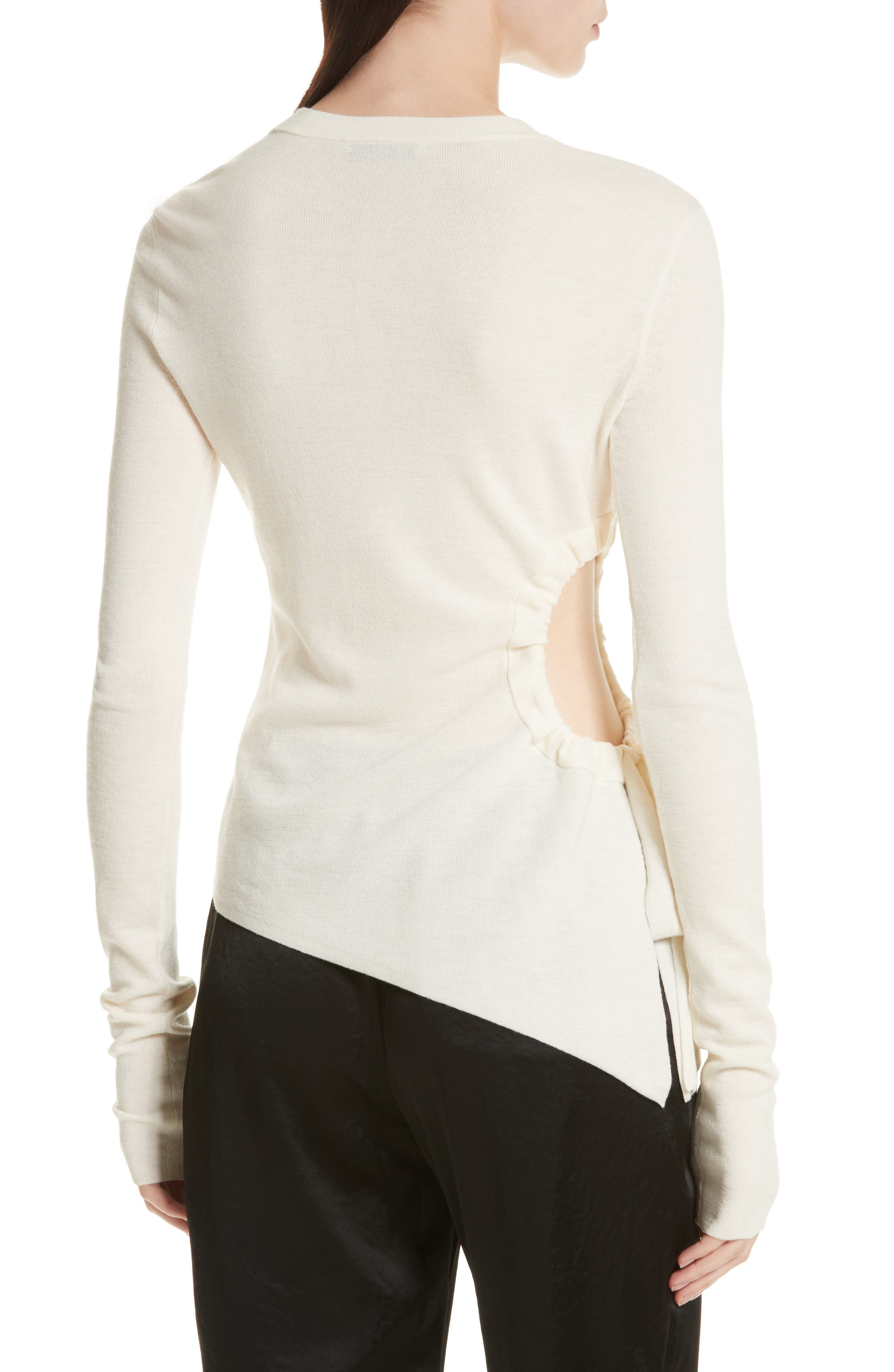 T by Alexander Wang Ruched Cutout Merino Wool Sweater,                             Alternate thumbnail 2, color,                             906