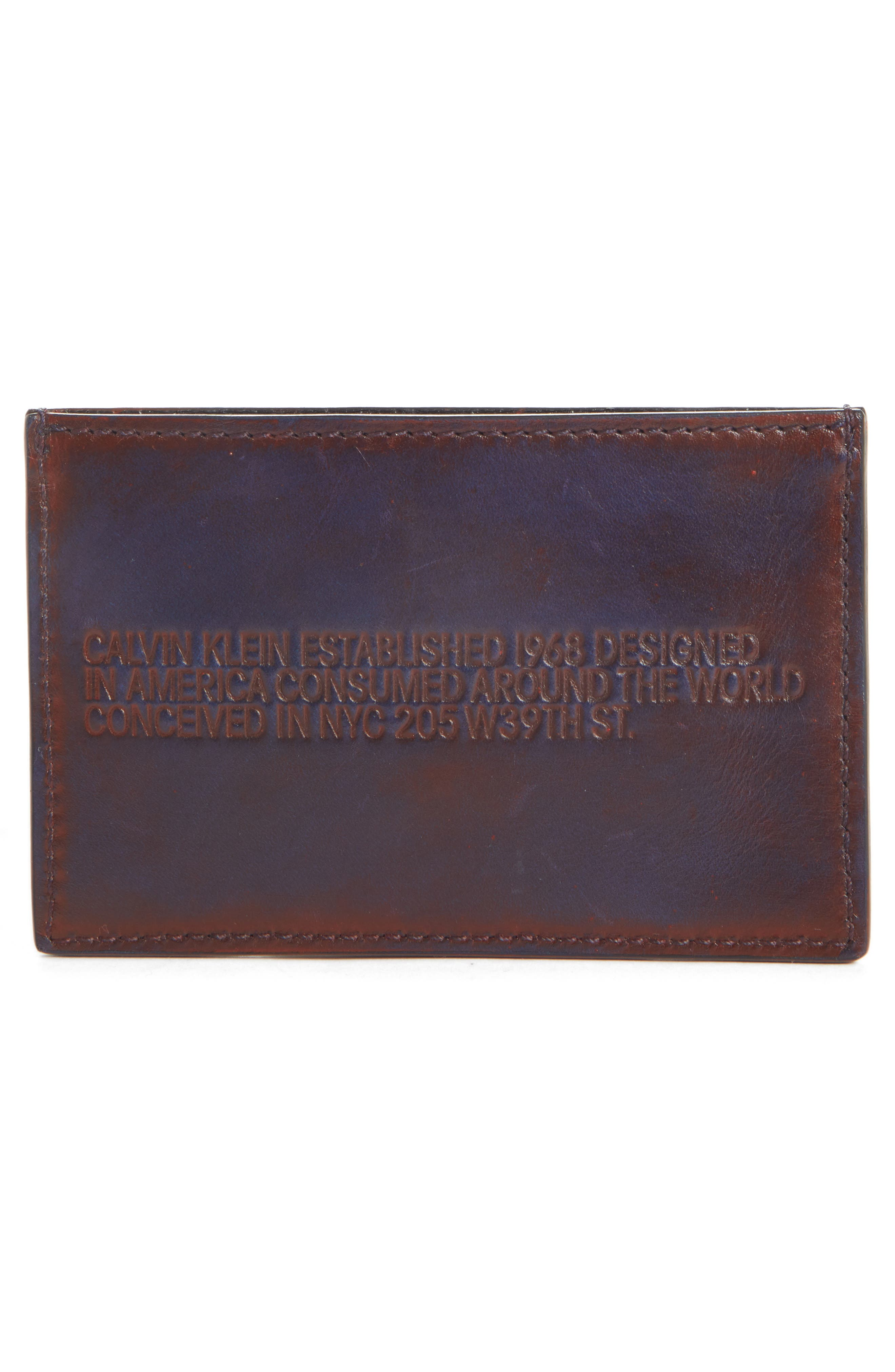 Leather Card Case,                             Alternate thumbnail 2, color,                             MARINE RED