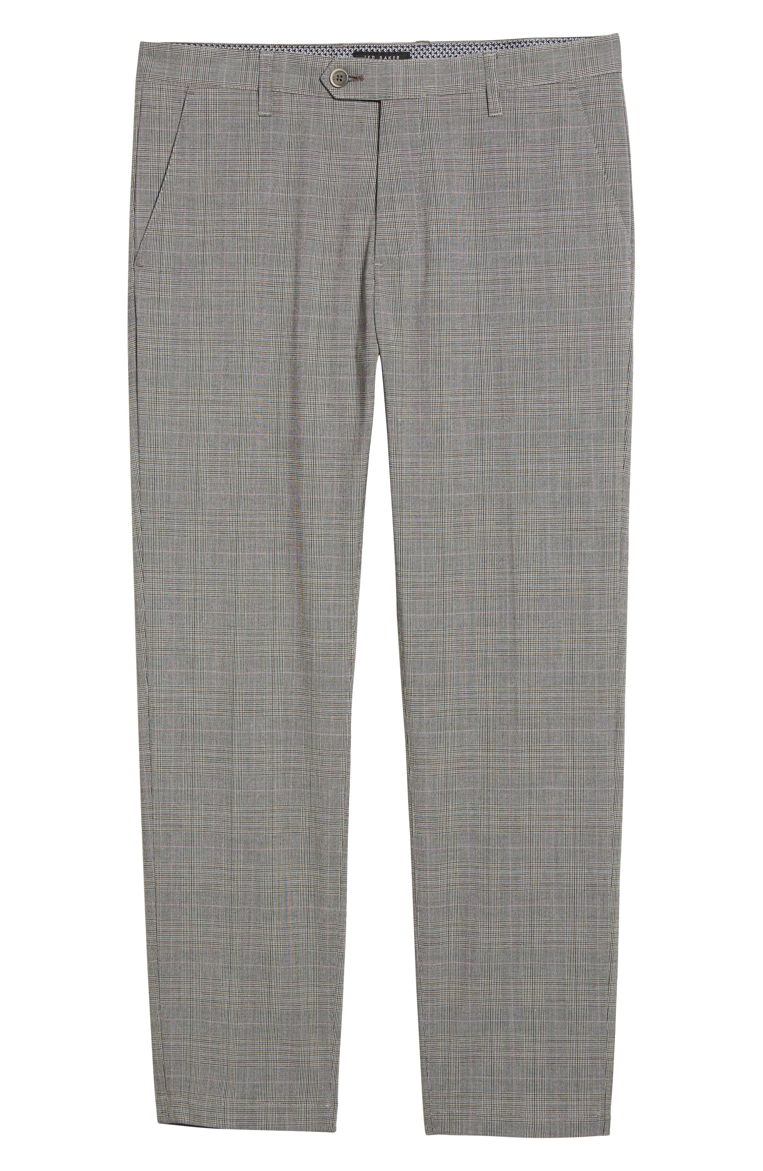 Jefferson Flat Front Check Wool Trousers,                             Alternate thumbnail 17, color,