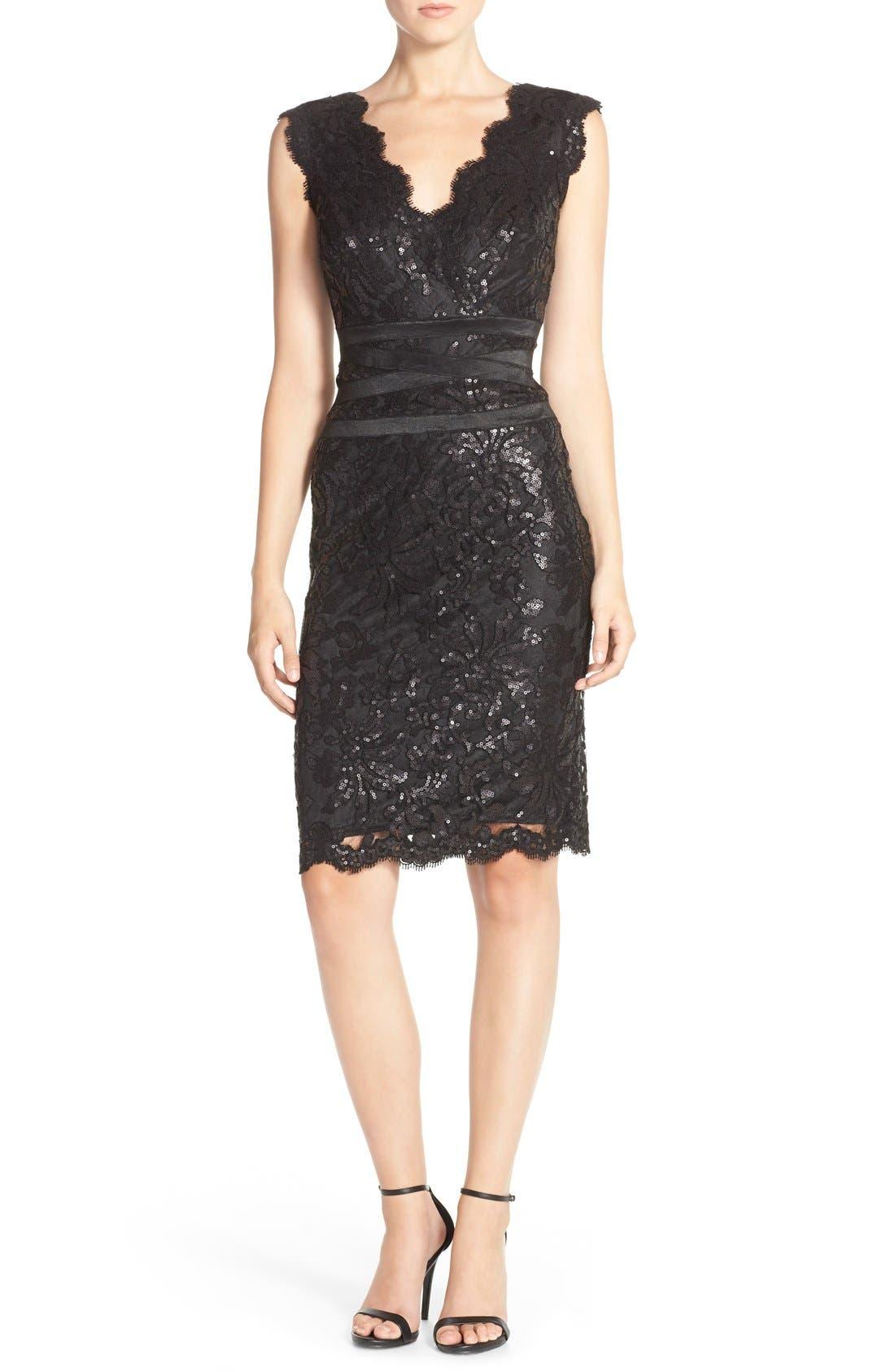 Sequin Lace Sheath Dress,                             Alternate thumbnail 3, color,                             001