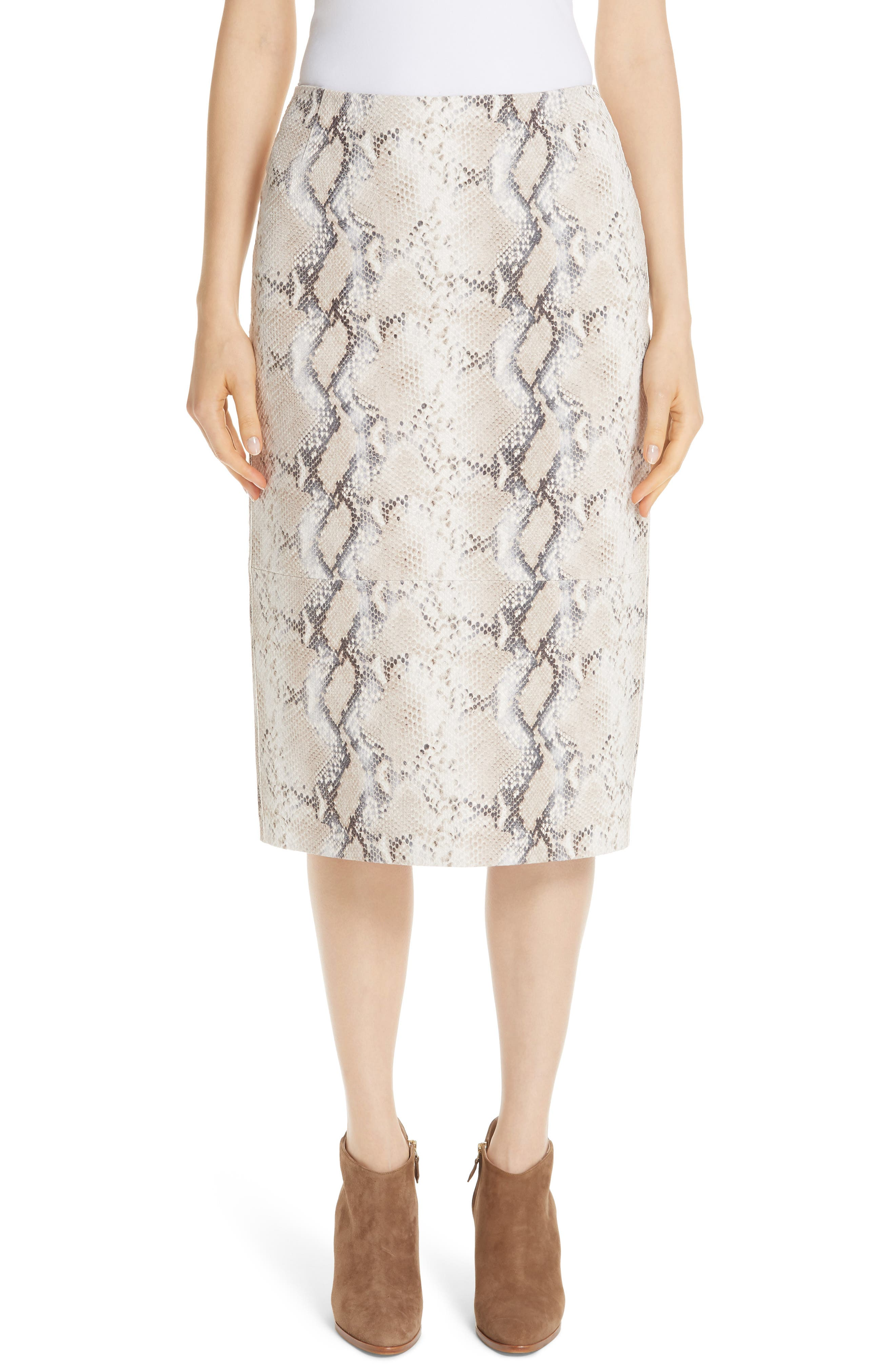 Casey Diamondback Snake-Print Suede Skirt in Taupe Multi
