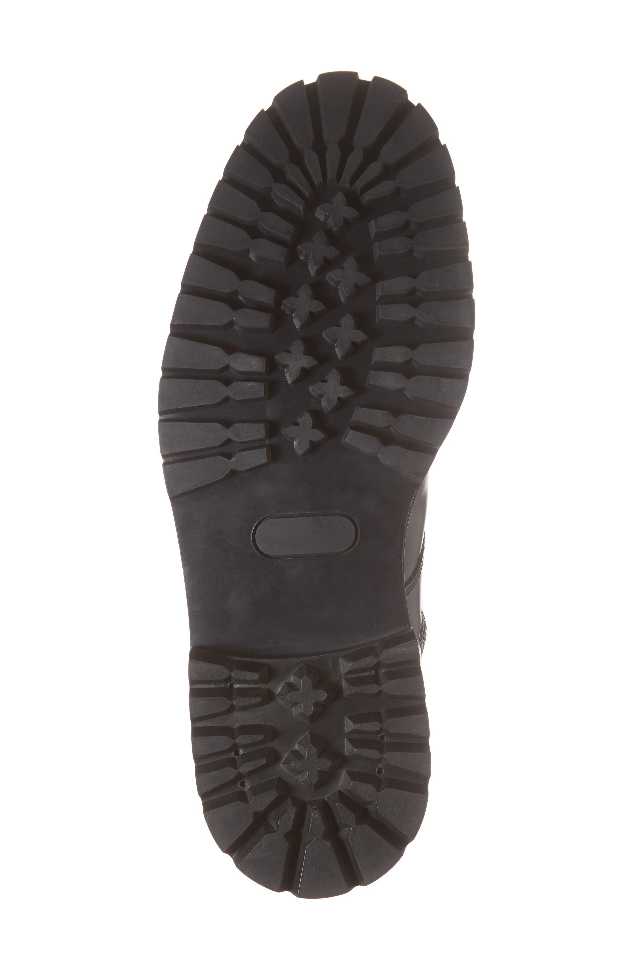 Zipper Combat Boot,                             Alternate thumbnail 6, color,                             BLACK LEATHER
