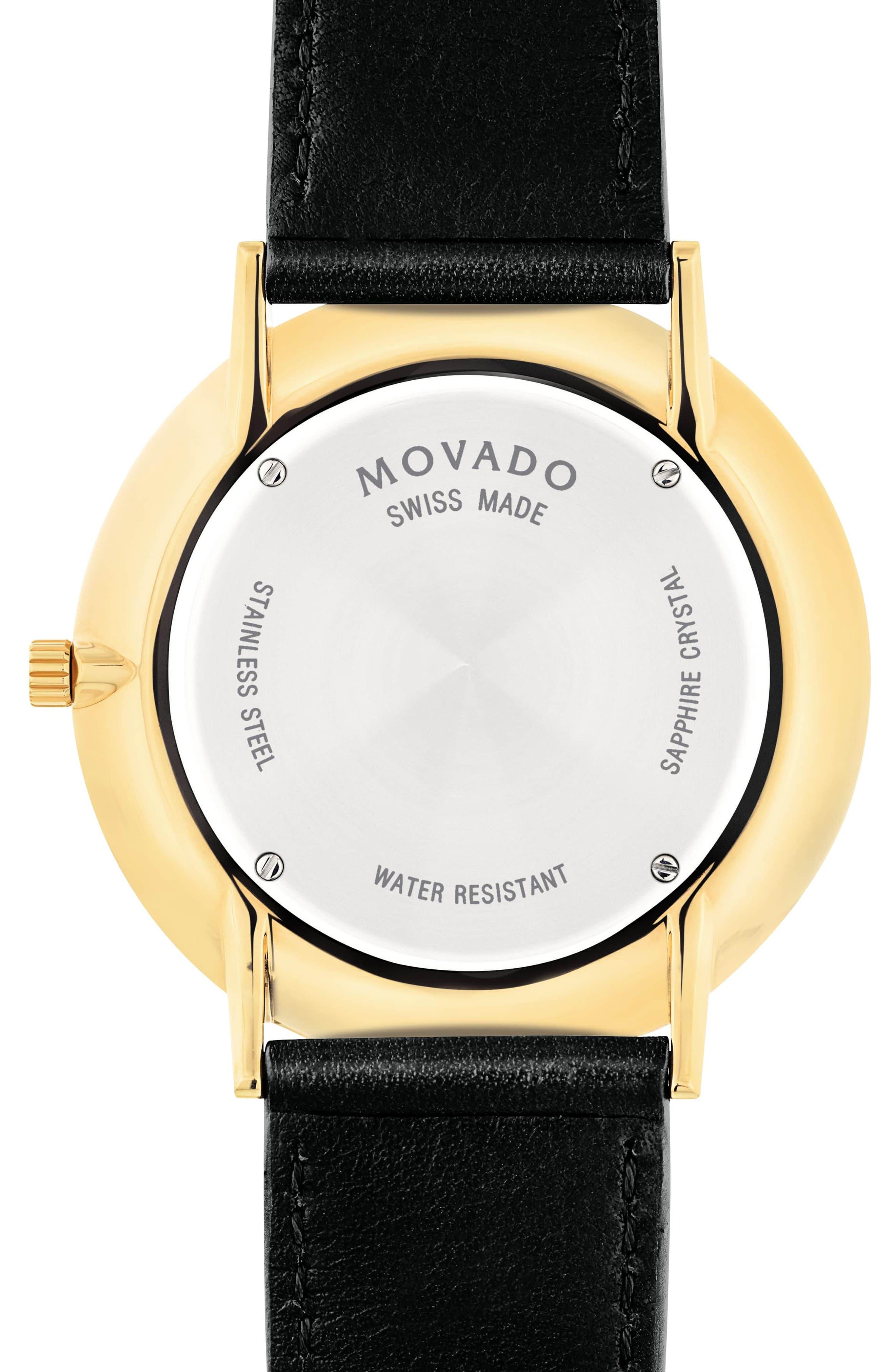 'Ultra Slim' Leather Strap Watch, 40mm,                             Alternate thumbnail 2, color,                             BLACK/ BLACK/ GOLD