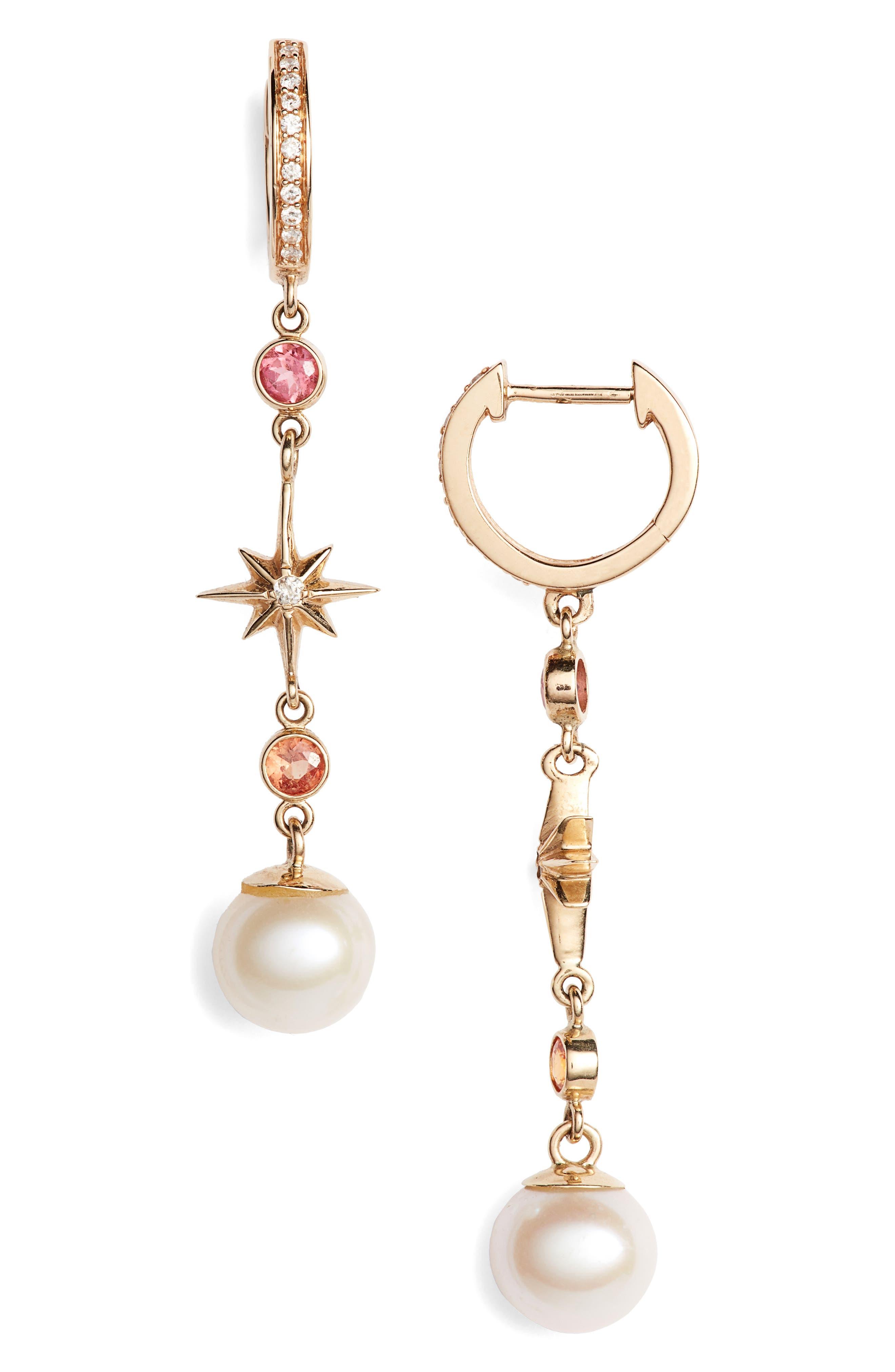 Elixir Single Linear Pearl, Diamond & Stone Drop Earring,                             Main thumbnail 1, color,                             YELLOW GOLD